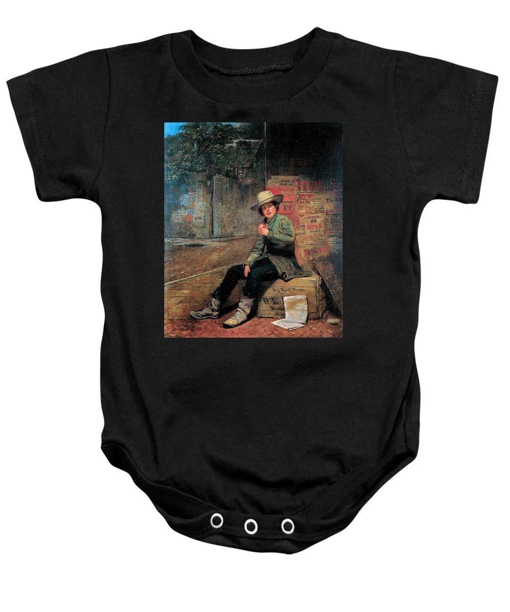 Thomas Le Clear Baby Onesie featuring the digital art Buffalo Newsboy by Thomas Le Clear