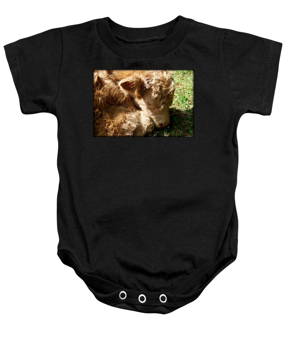 Cow Baby Onesie featuring the photograph Buffie by Kathy Sampson