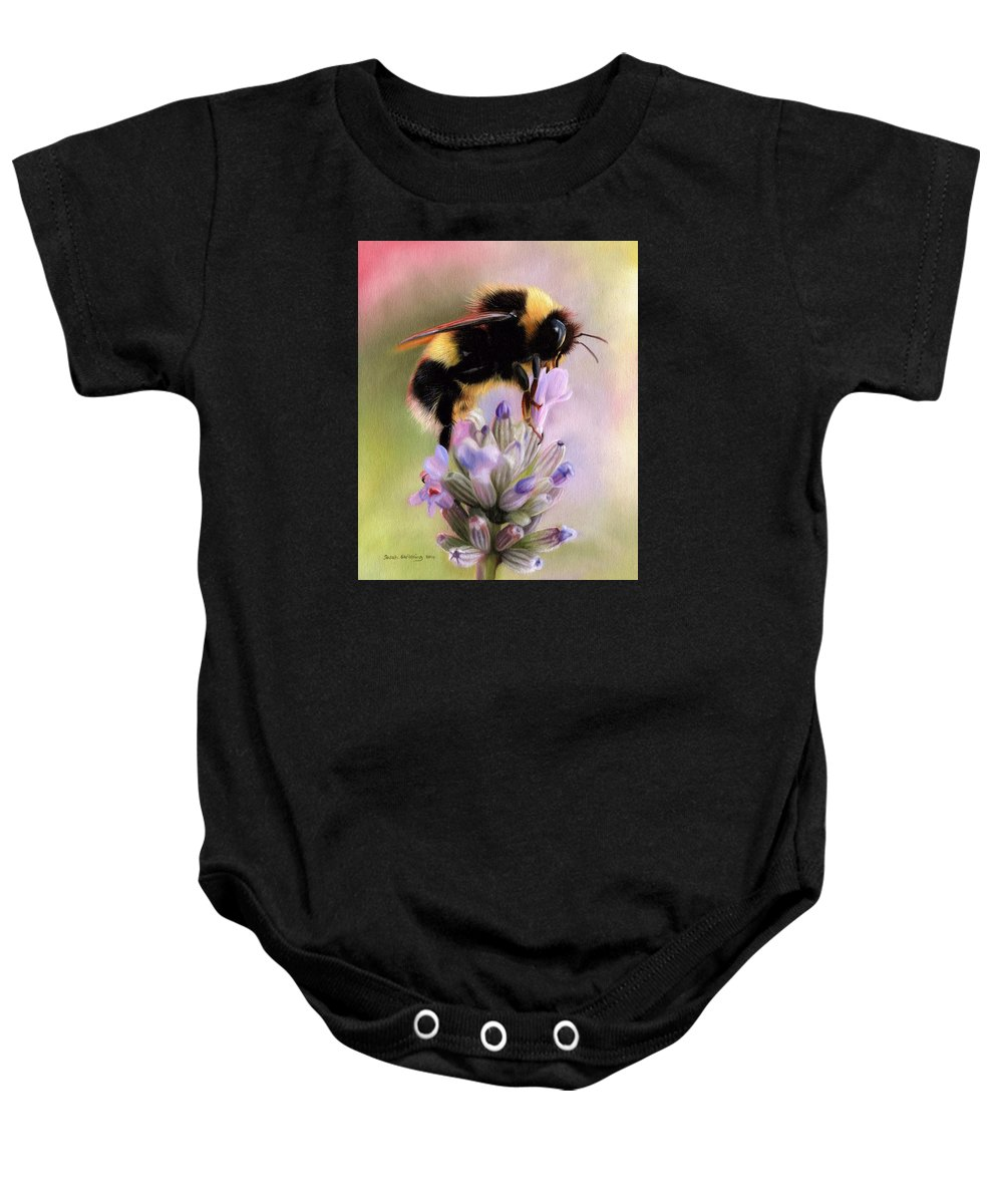 Bumble Bee Baby Onesie featuring the painting Bumble Bee by Sarah Stribbling