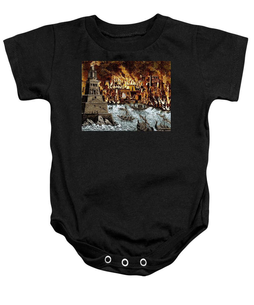 History Baby Onesie featuring the photograph Burning Of The Royal Library by Science Source