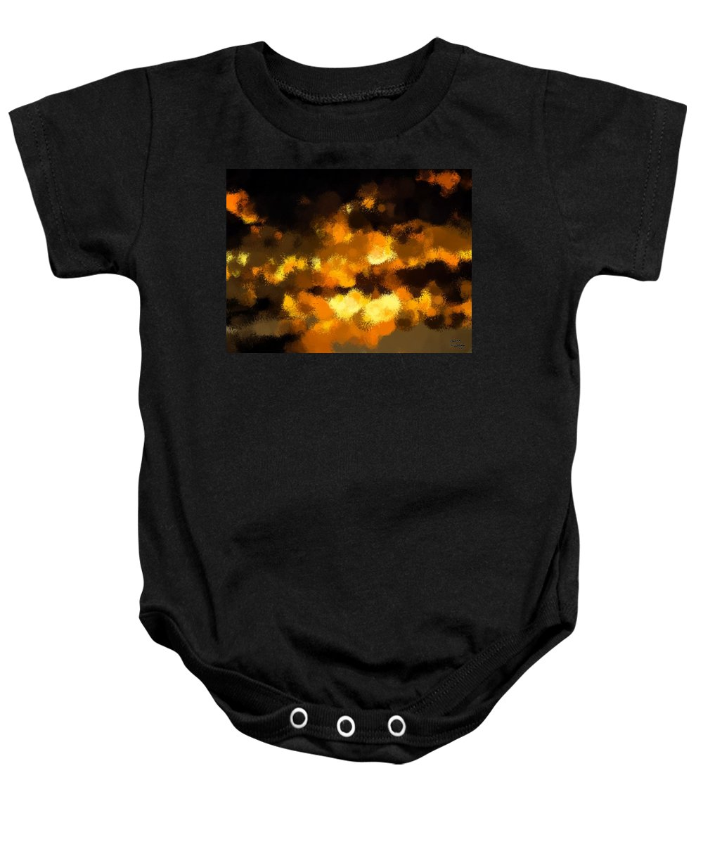 Sunset Baby Onesie featuring the painting Burning Sky by Bruce Nutting