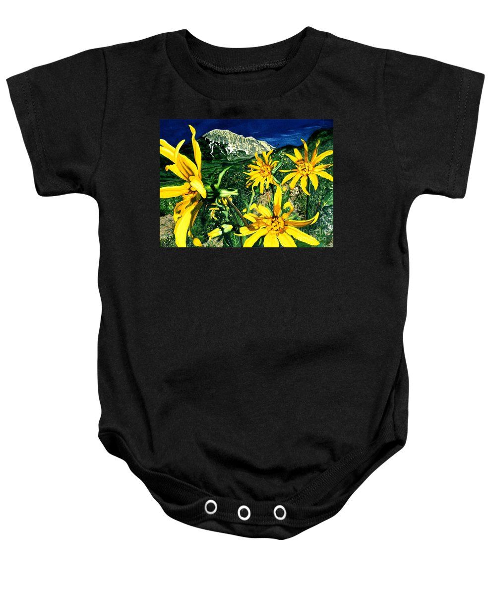 Flowers Baby Onesie featuring the painting Burst Of Summer by Barbara Jewell