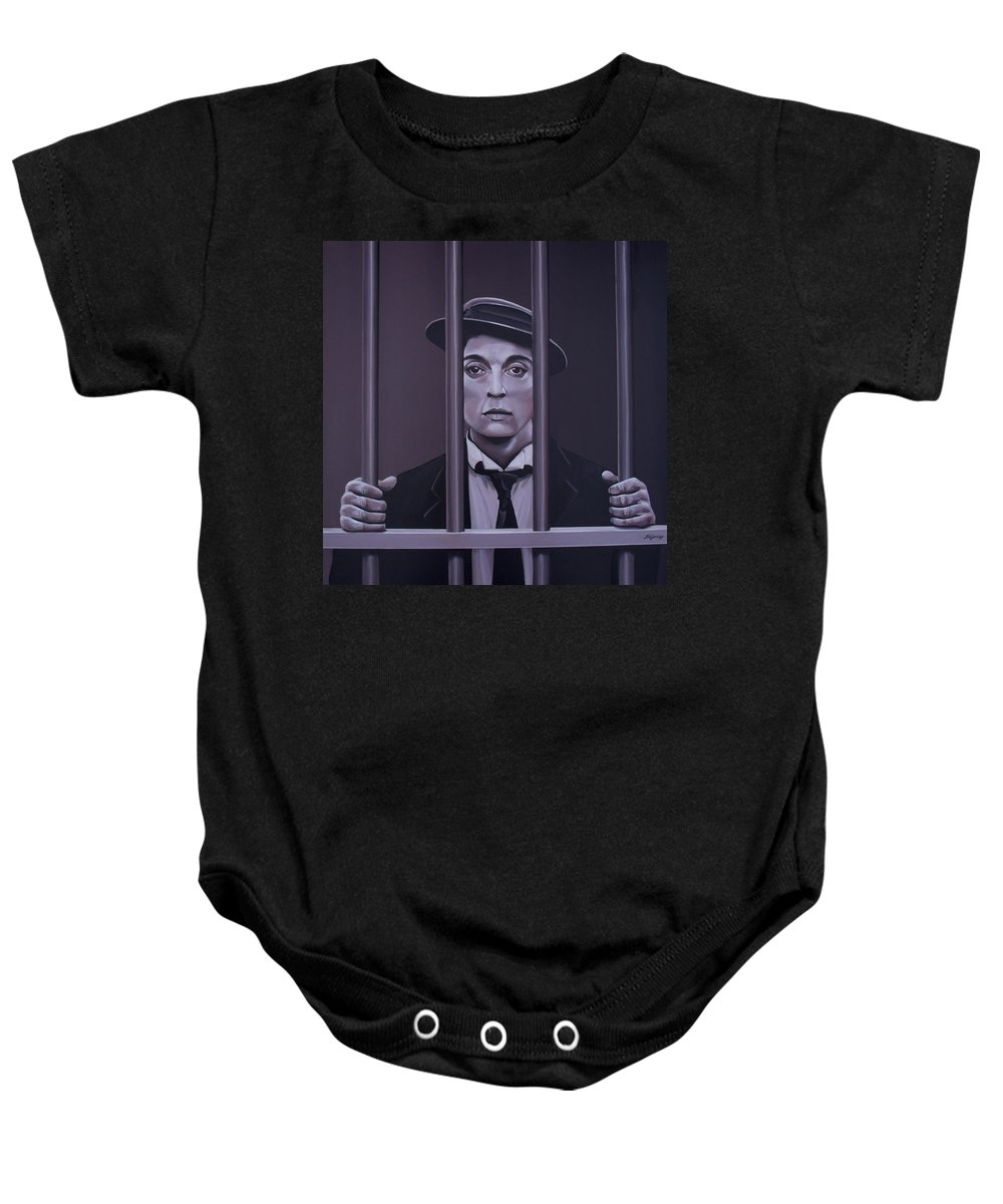 Buster Keaton Baby Onesie featuring the painting Buster Keaton Painting by Paul Meijering
