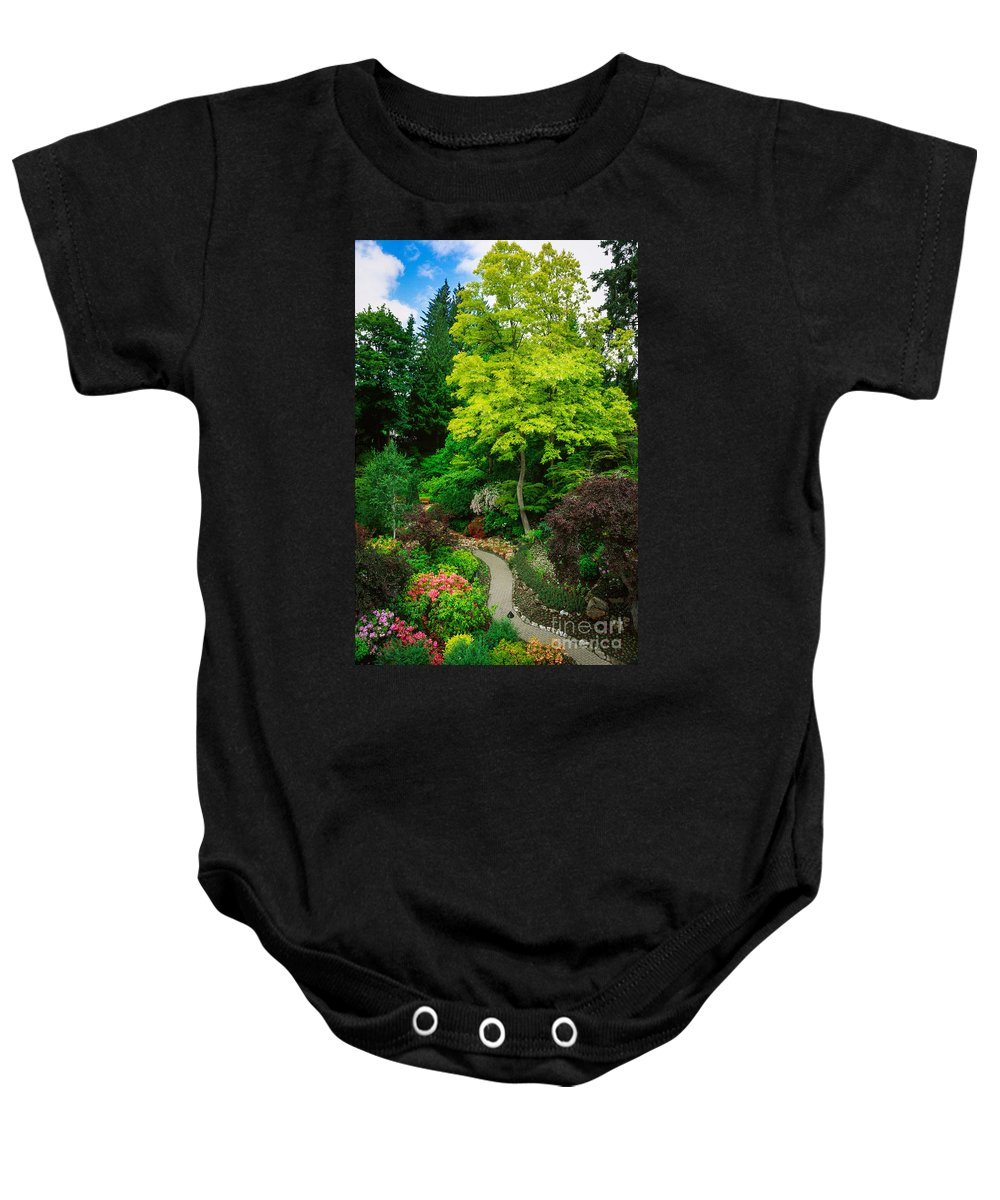 America Baby Onesie featuring the photograph Butchart Gardens Pathway by Inge Johnsson