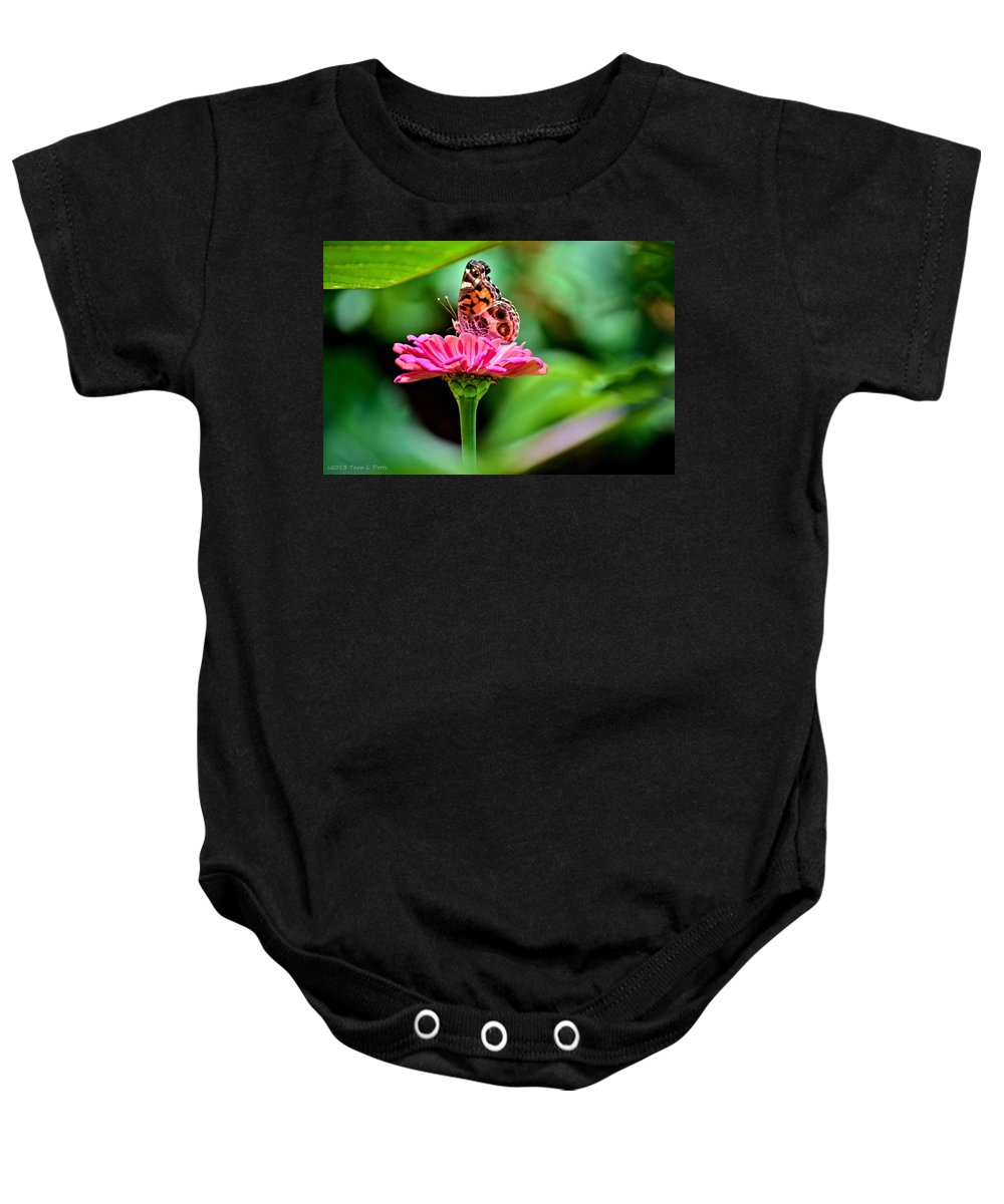 Butterfly Baby Onesie featuring the photograph Butterfly And Flower by Tara Potts
