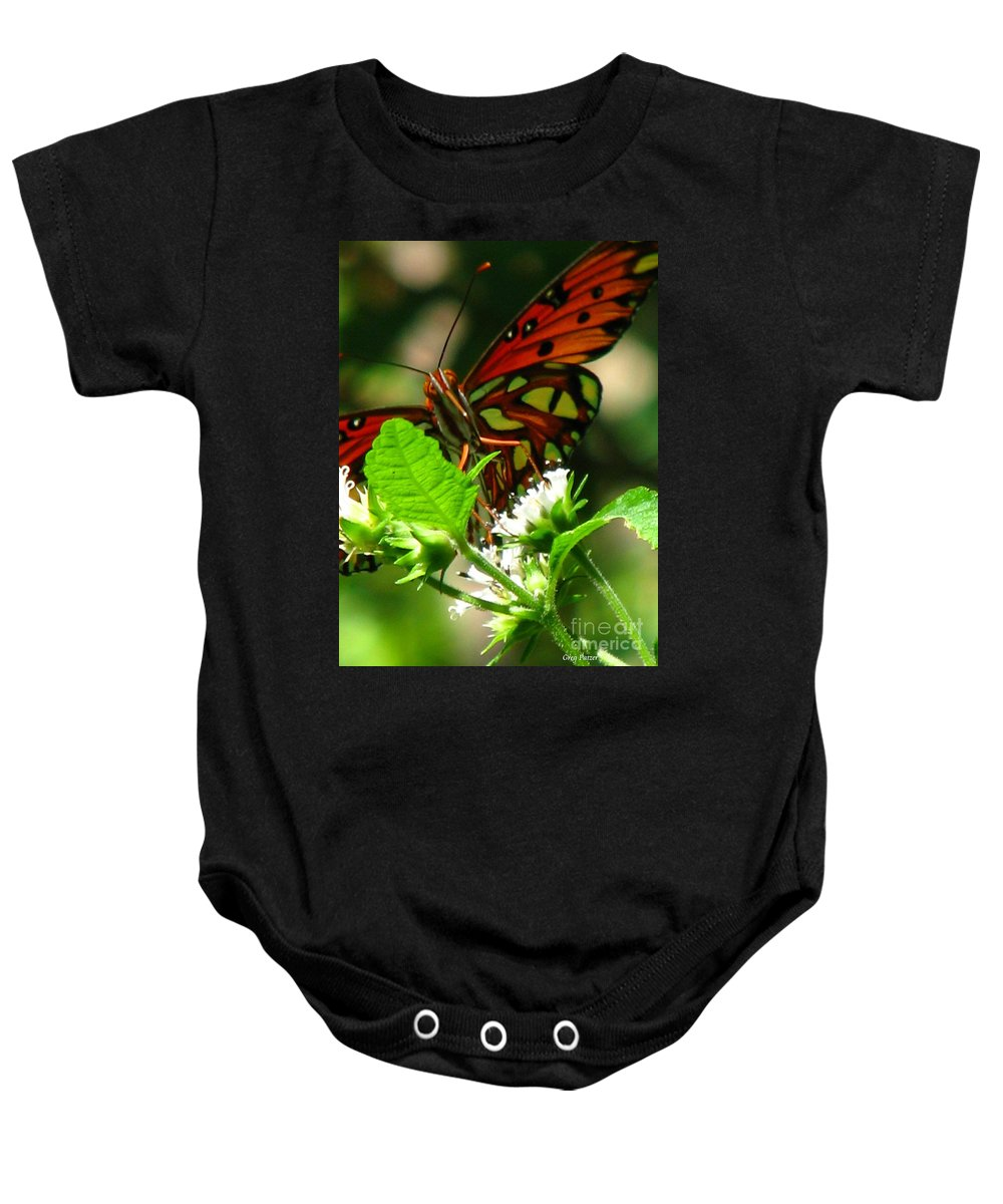Patzer Baby Onesie featuring the photograph Butterfly Art by Greg Patzer