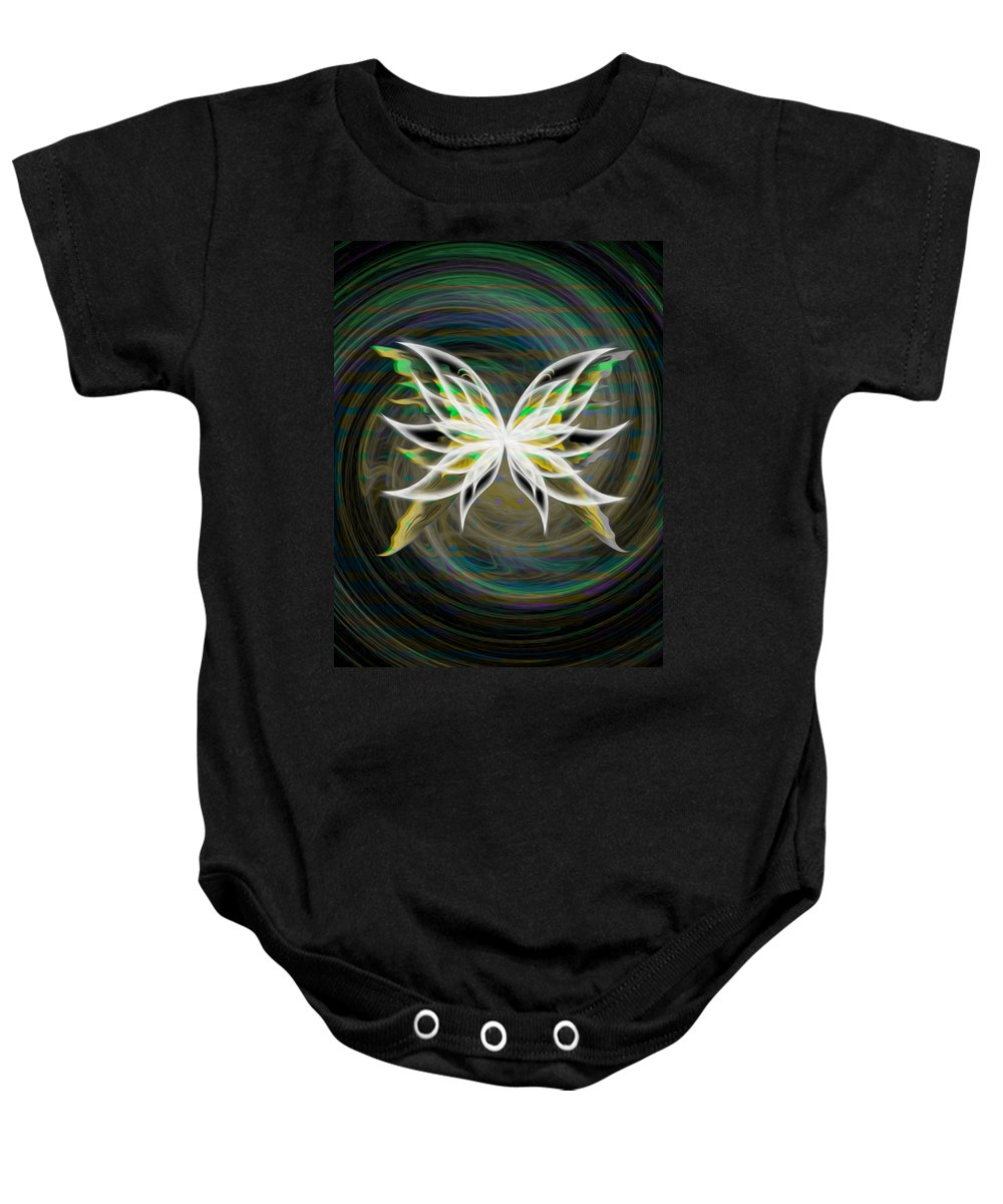 Green Baby Onesie featuring the digital art Butterfly Glow by Teri Schuster