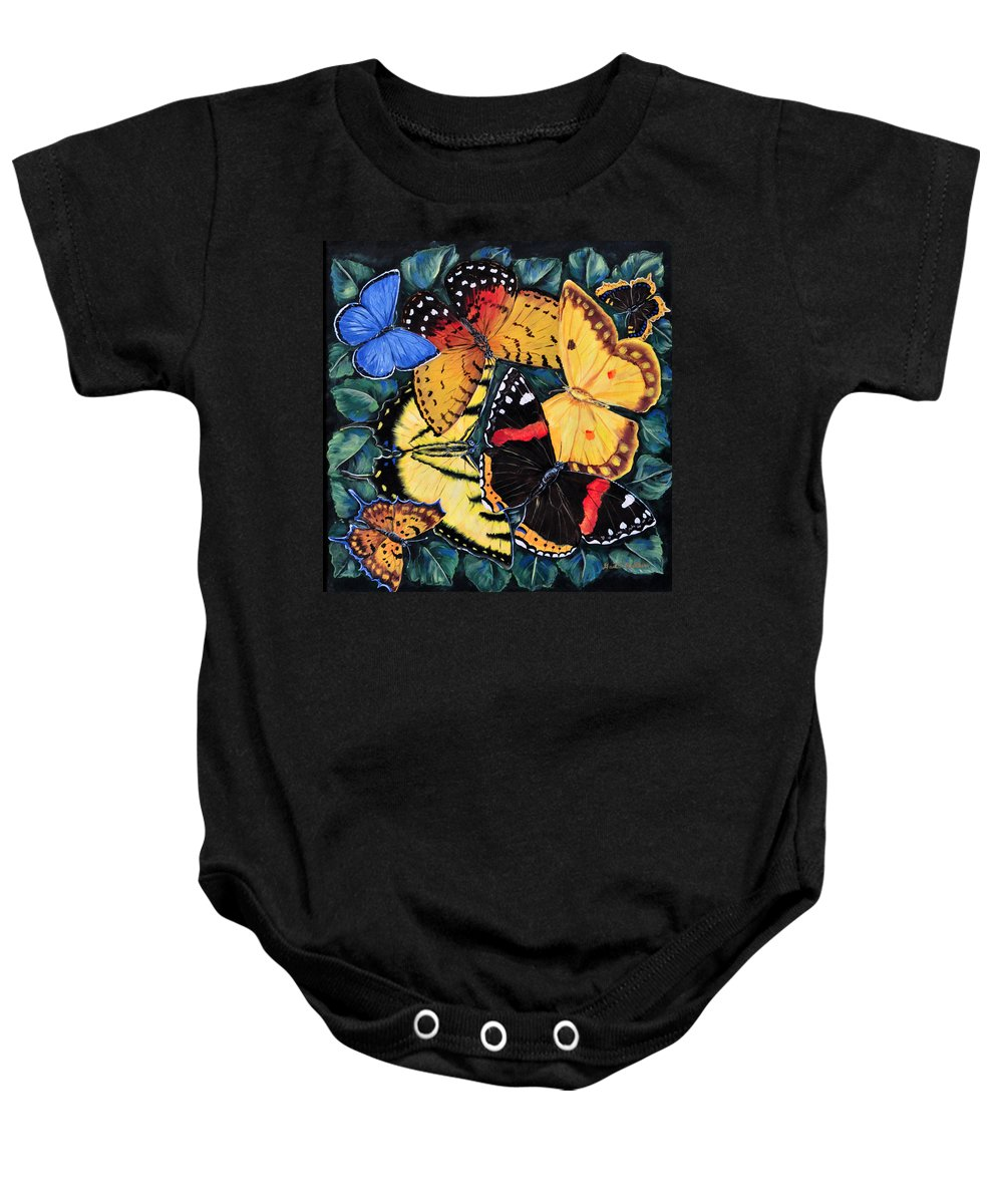 Butterfly Baby Onesie featuring the painting Butterfly Kisses by Gail Butler