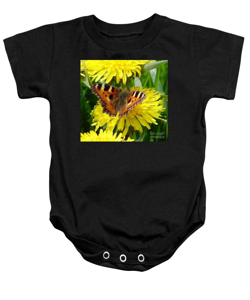 Butterfly Baby Onesie featuring the photograph Butterfly Yellow by Carol Lynch