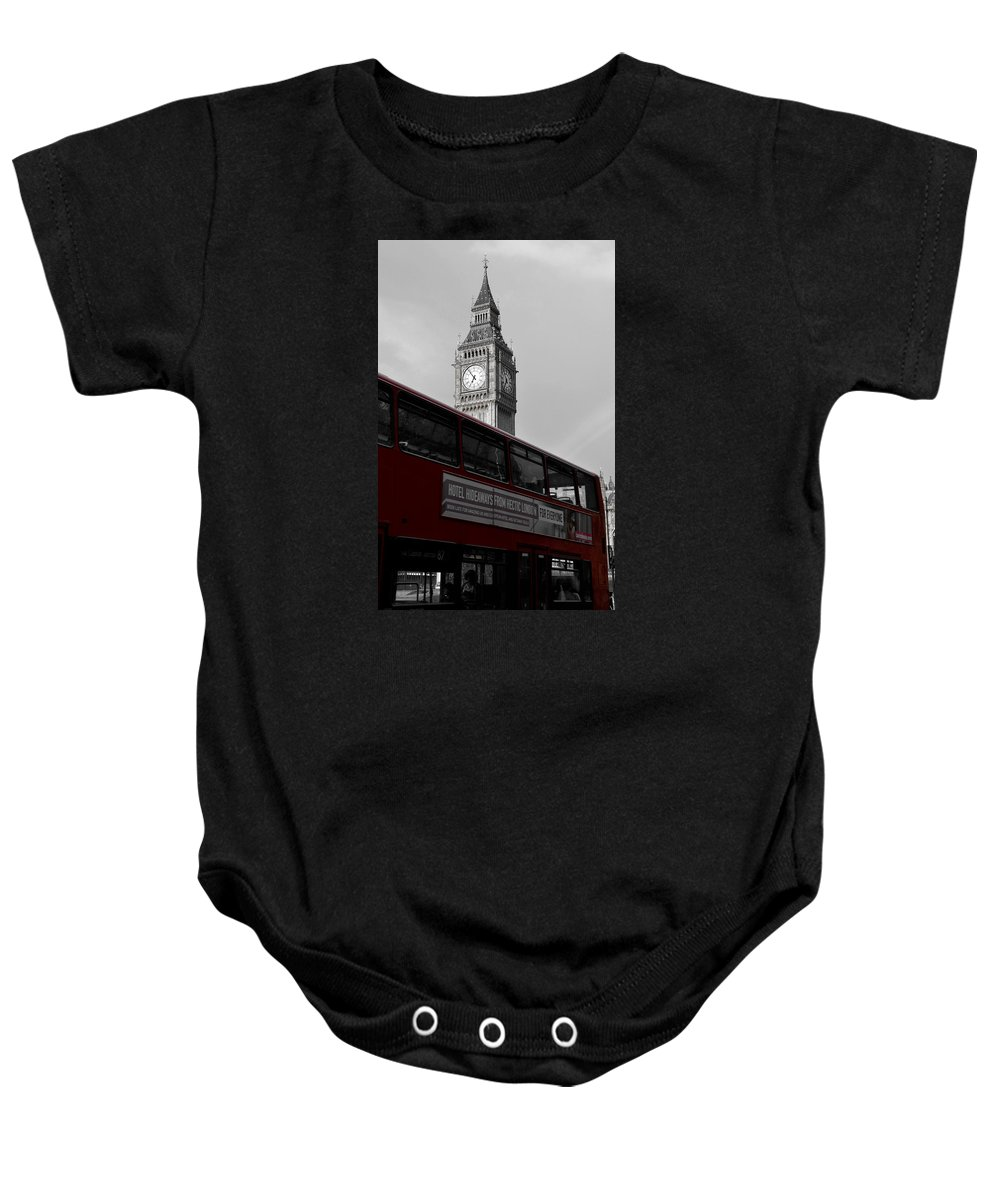 Red Baby Onesie featuring the photograph Bw Big Ben And Red London Bus by RicardMN Photography