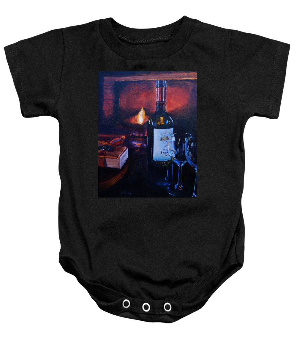 Wine Baby Onesie featuring the painting By The Fire by Donna Tuten