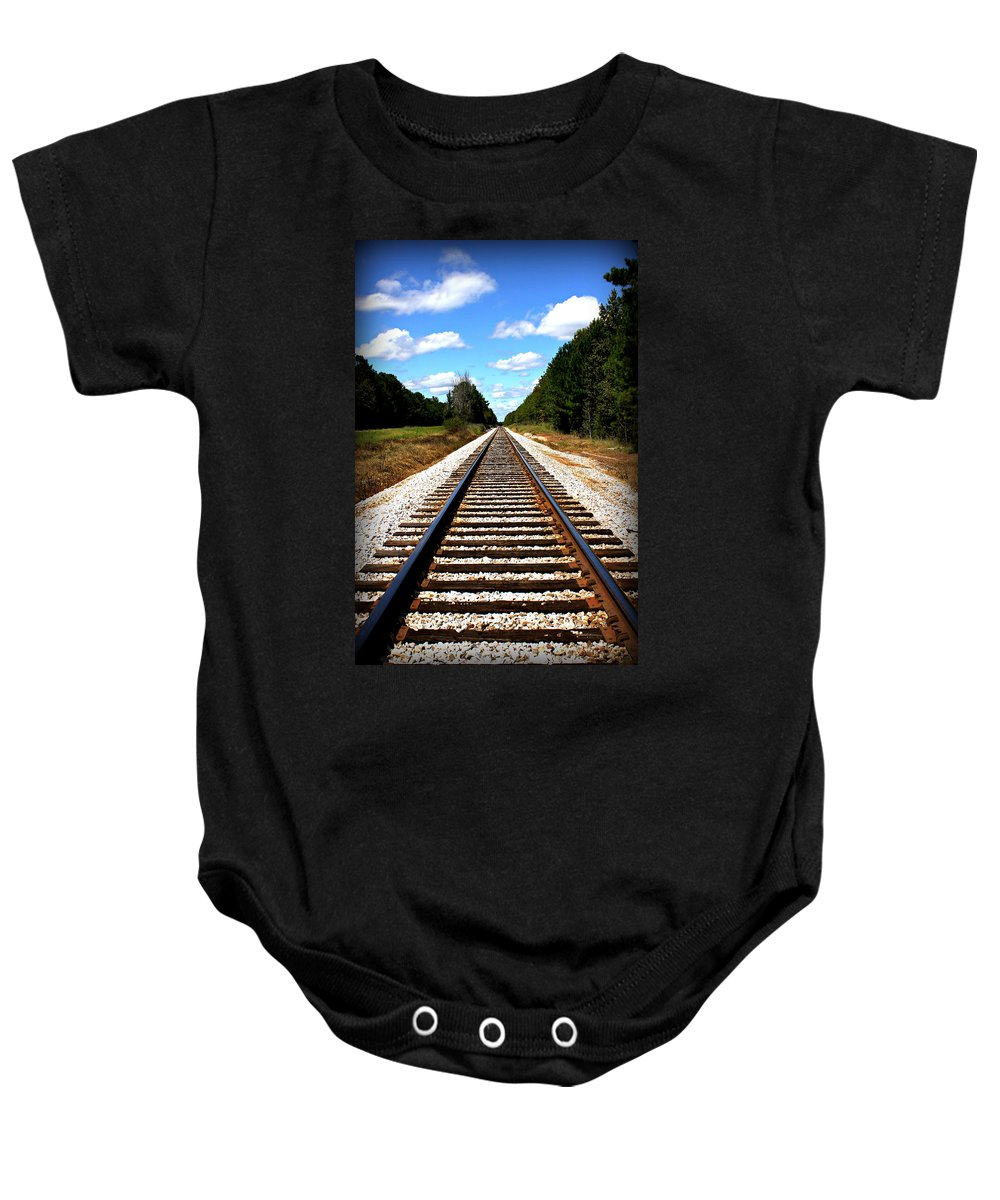 Reid Callaway Railroad Baby Onesie featuring the photograph Never Ending Tracks by Reid Callaway