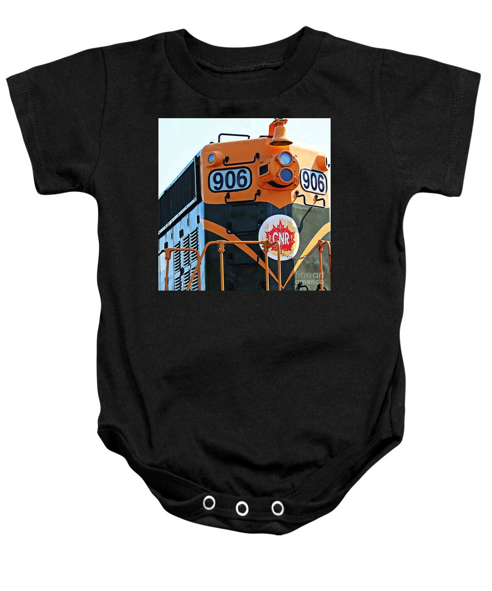 Cnr Train 906 Baby Onesie featuring the photograph C N R Train 906 by Barbara Griffin