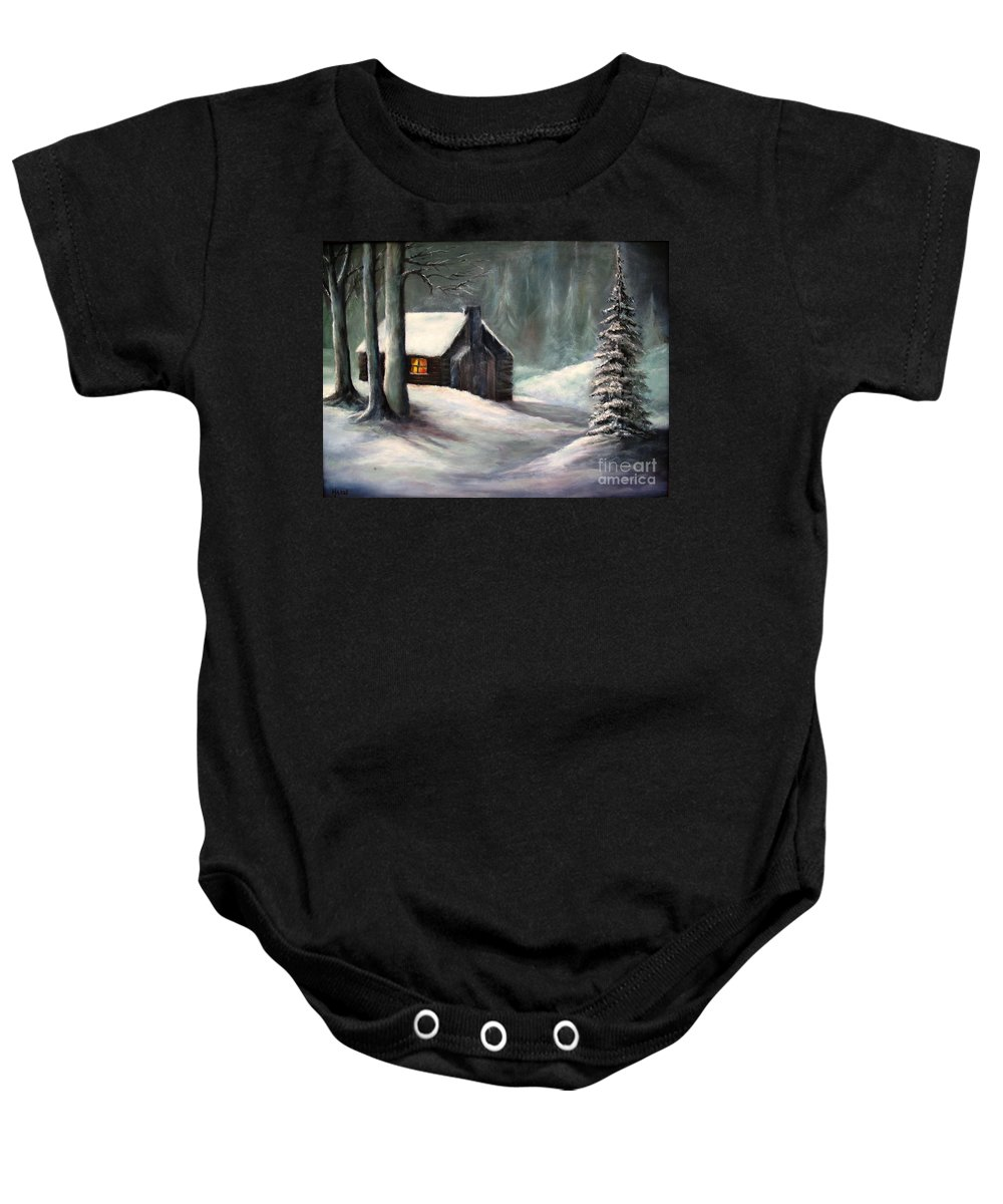 Wood Cabin Baby Onesie featuring the painting Cabin In The Woods by Hazel Holland