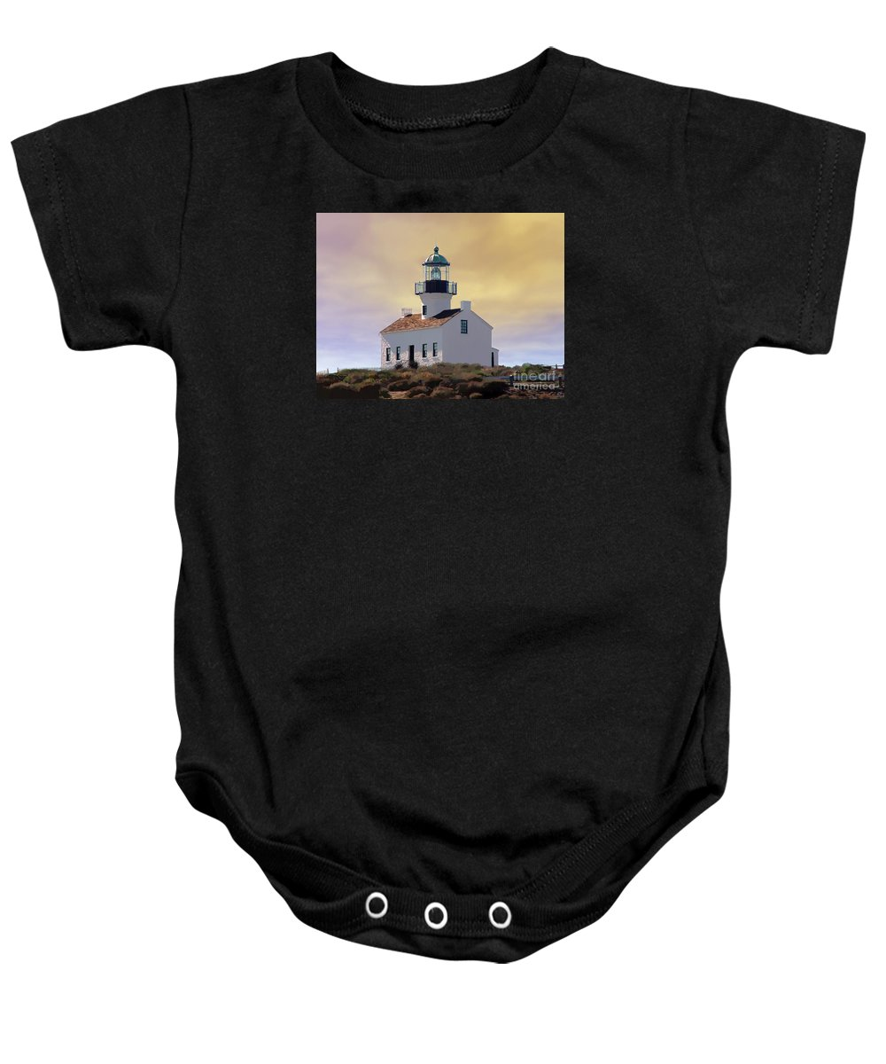 Abstract Art Baby Onesie featuring the digital art Cabrillo Lighthouse by John Engen