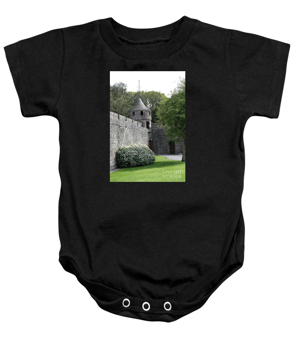 Cahir Castle Baby Onesie featuring the photograph Cahir Castle Wall And Tower by Christiane Schulze Art And Photography