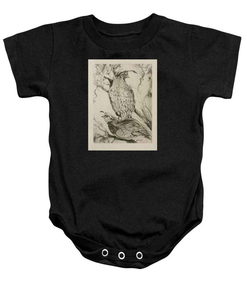 Bird Baby Onesie featuring the drawing California Quails Lithograph by Derrick Higgins