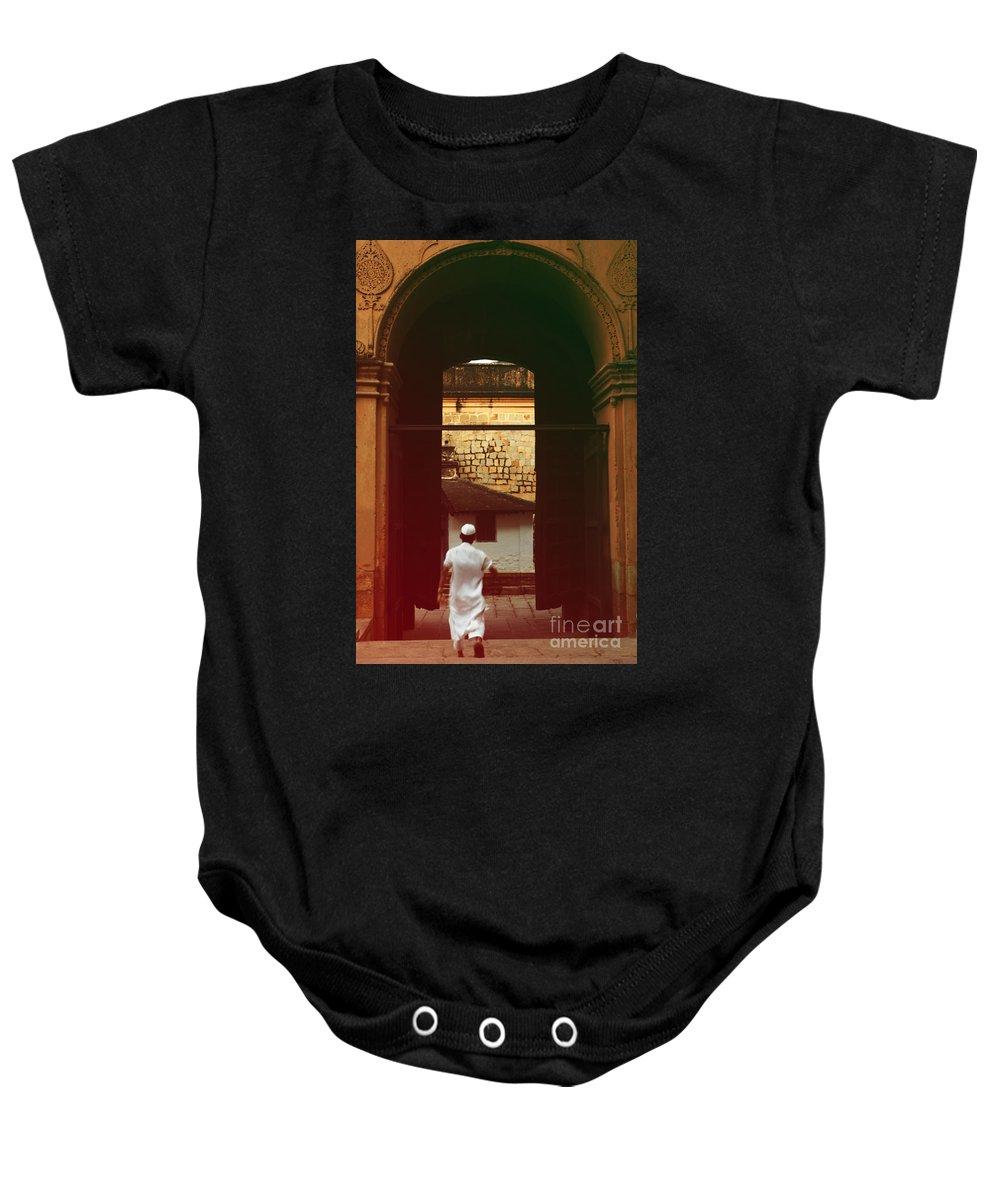 Muslim Boy Baby Onesie featuring the photograph Call To Prayer by Mini Arora