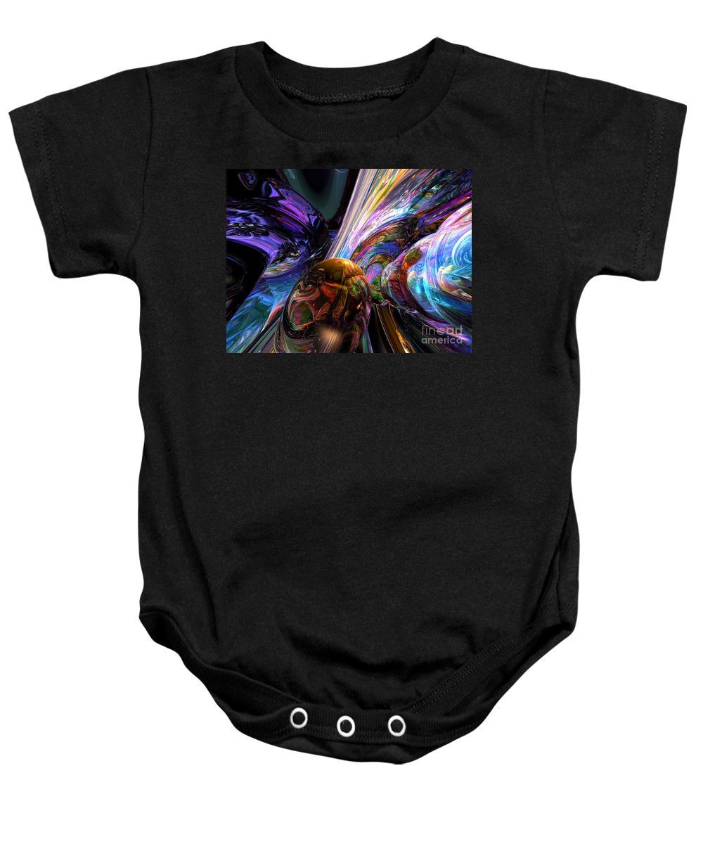 3d Baby Onesie featuring the digital art Calming Madness Abstract by Alexander Butler