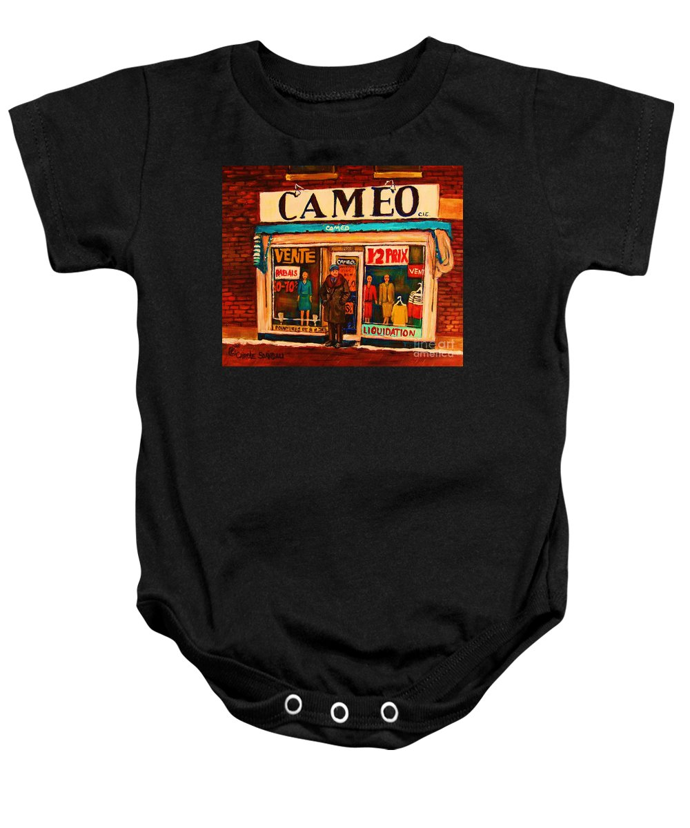 Cameo Dress Shop Baby Onesie featuring the painting Cameo Dress Shop by Carole Spandau