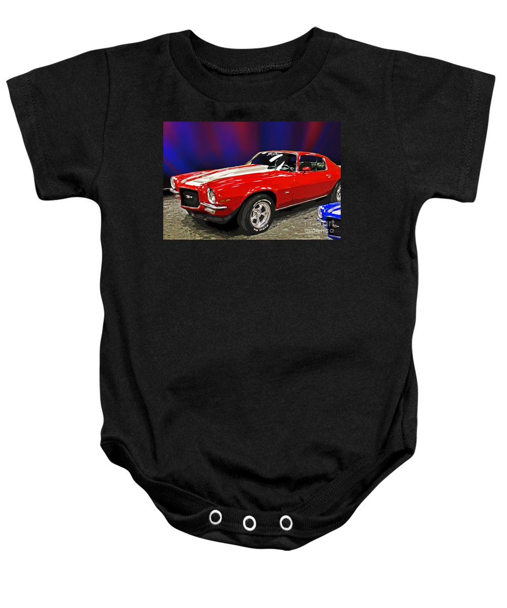 Automobile Baby Onesie featuring the photograph Camero Z28 by Tom Gari Gallery-Three-Photography
