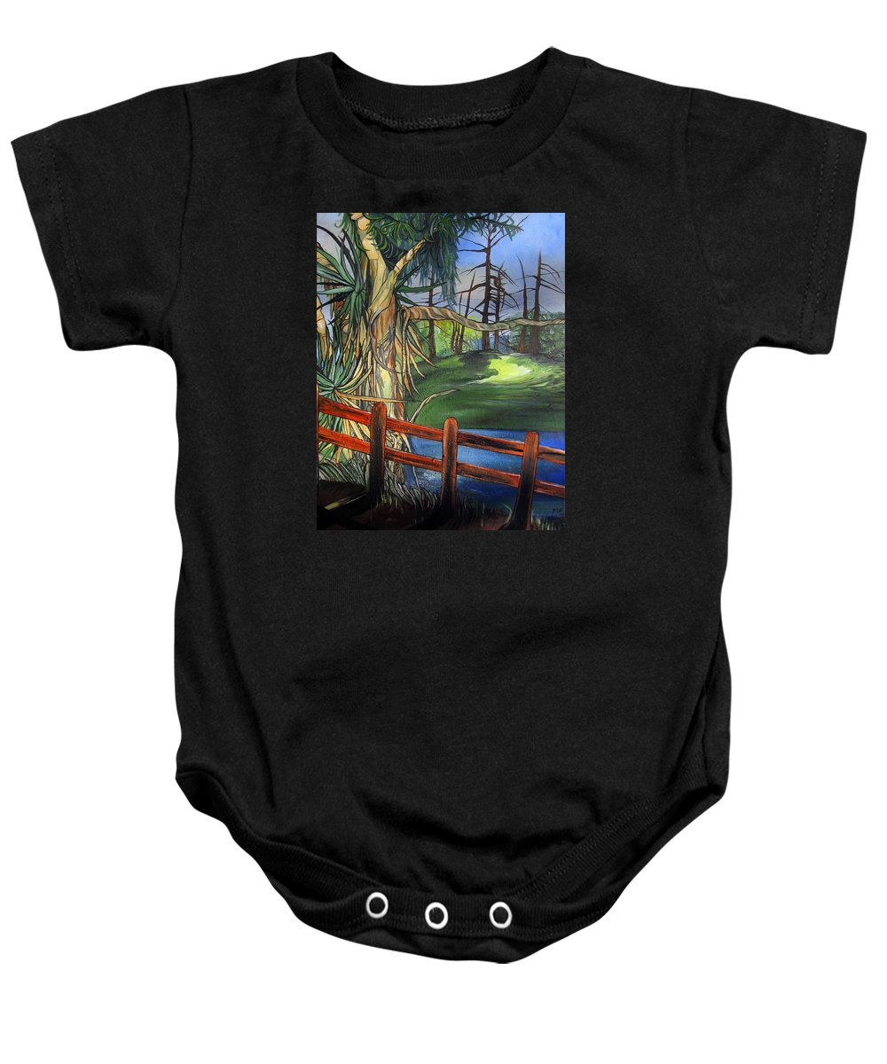 Camino Real Baby Onesie featuring the painting The Park by Mary Ellen Frazee
