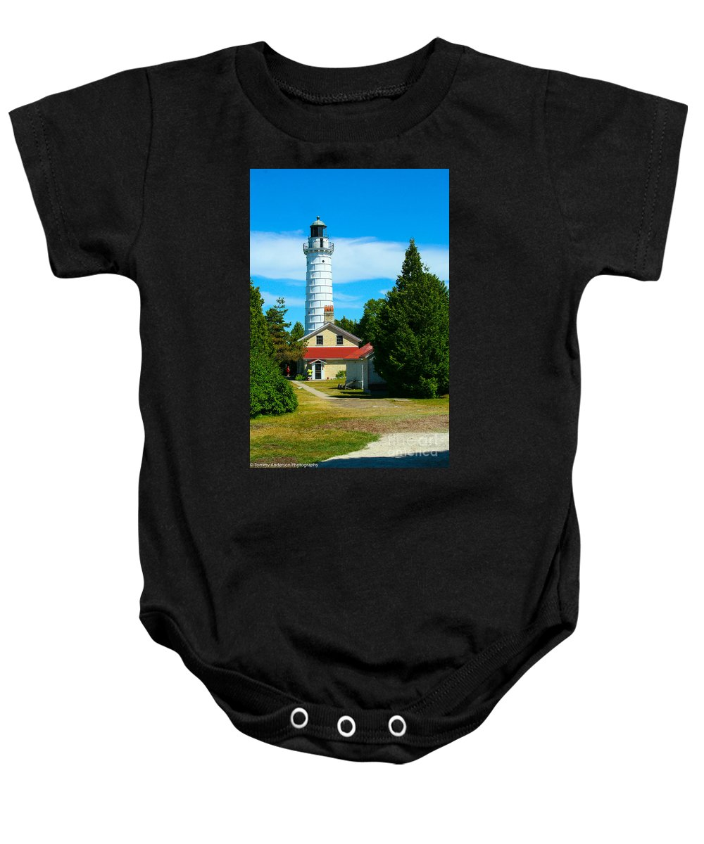 Cana Island Baby Onesie featuring the photograph Cana Island Wi Lighthouse by Tommy Anderson
