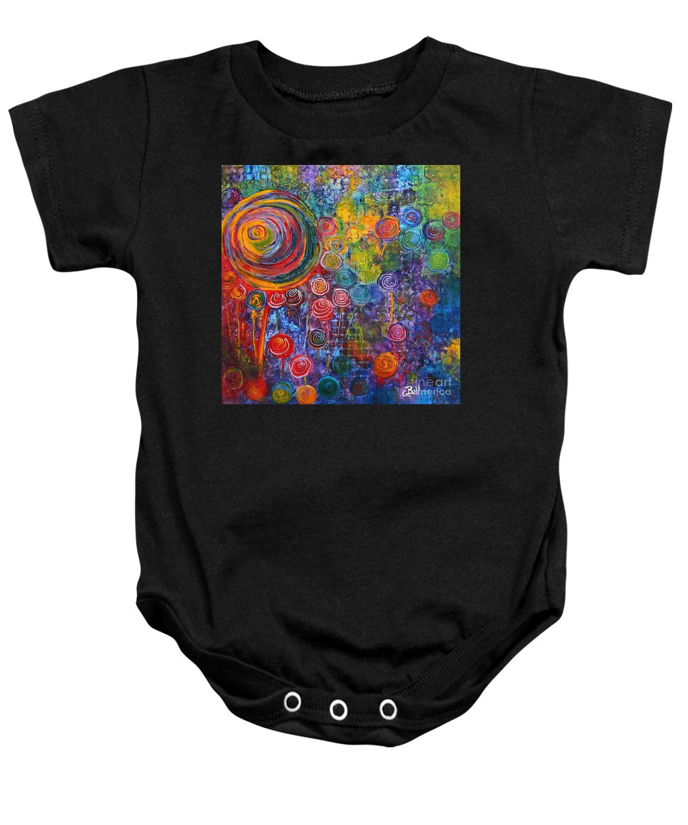 Candy Baby Onesie featuring the painting Candyland by Claire Bull