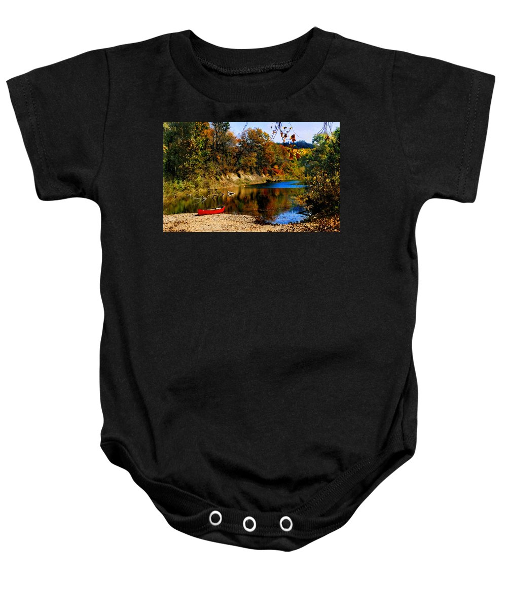 Autumn Baby Onesie featuring the photograph Canoe On The Gasconade River by Steve Karol