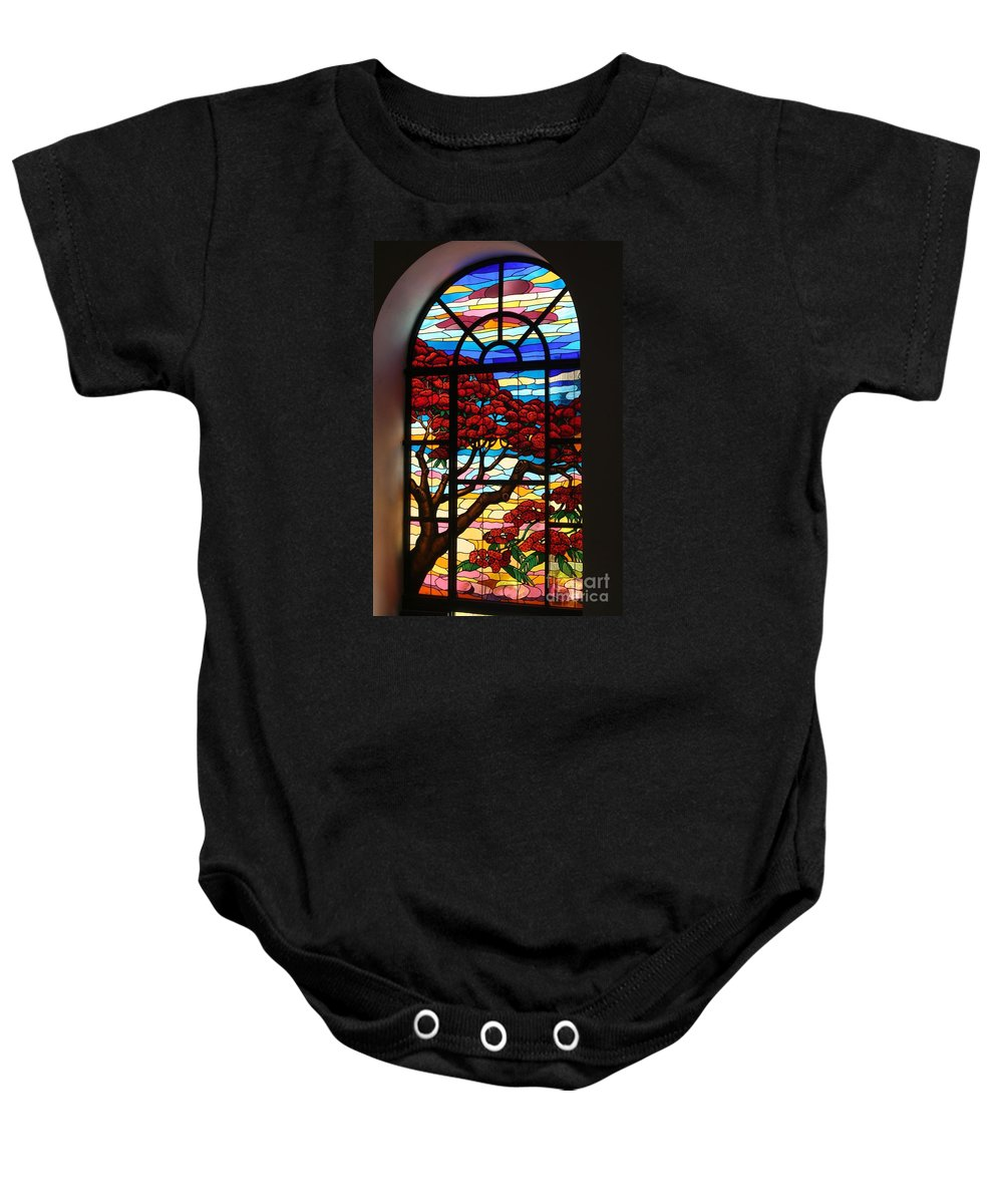 Stained Glass Baby Onesie featuring the photograph Caribbean Stained Glass by The Art of Alice Terrill