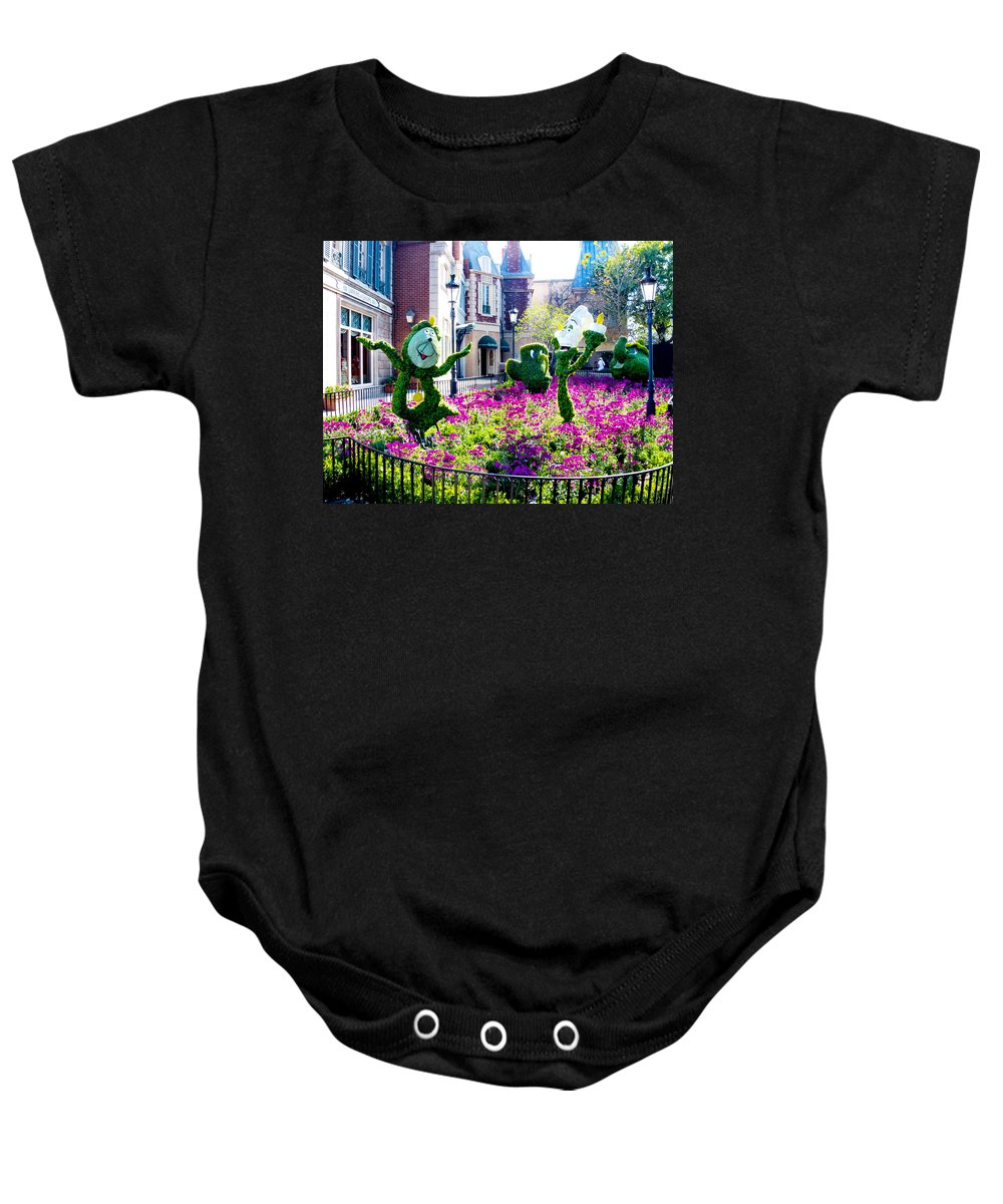 Lumiere Baby Onesie featuring the photograph Cast Of The Beast by Greg Fortier