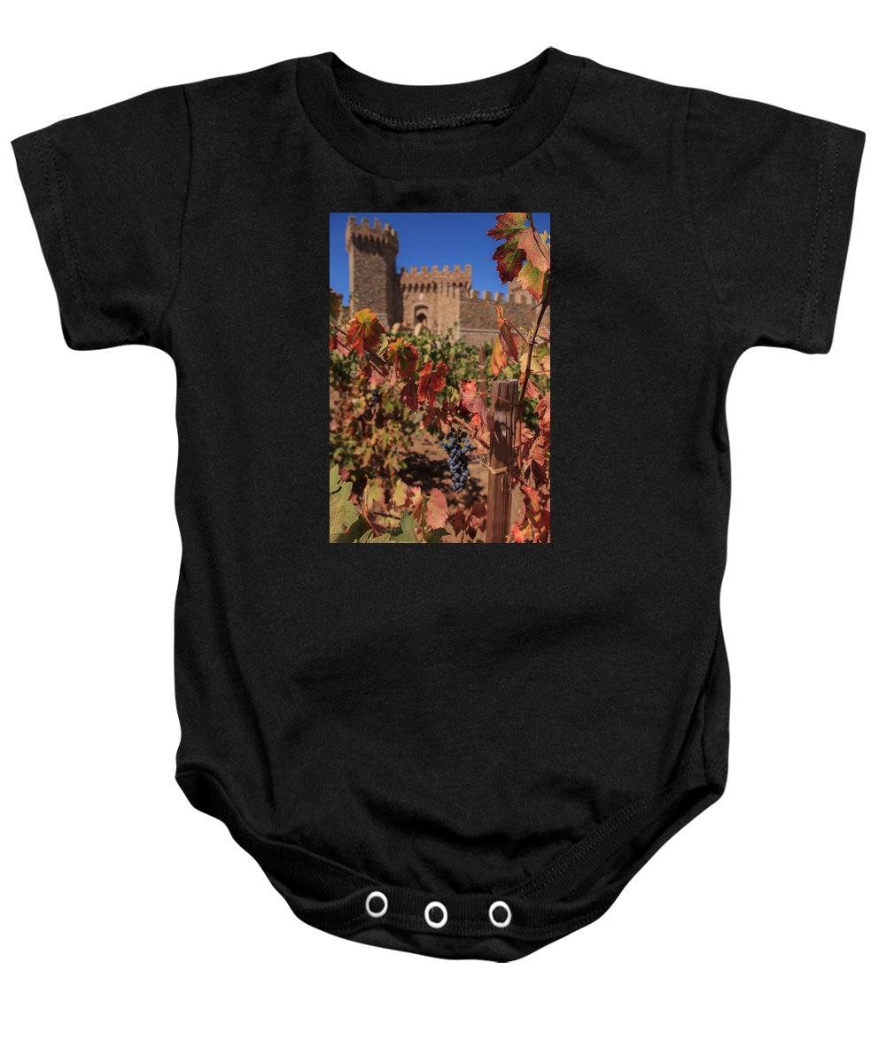 Winery Baby Onesie featuring the photograph Harvest Castelle Di Amorosa by Scott Campbell