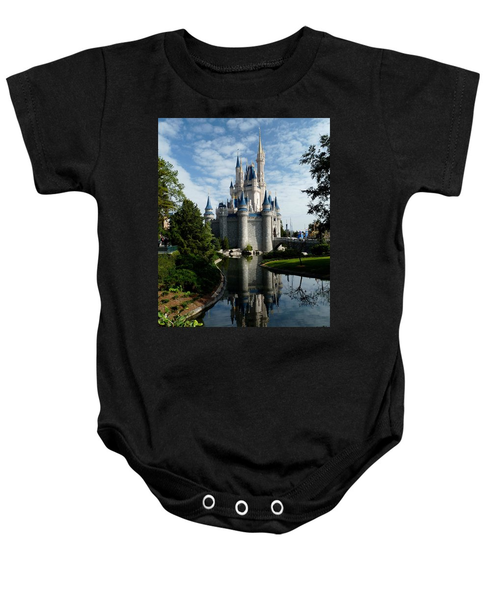 Cinderella Baby Onesie featuring the photograph Castle Reflections by Nora Martinez