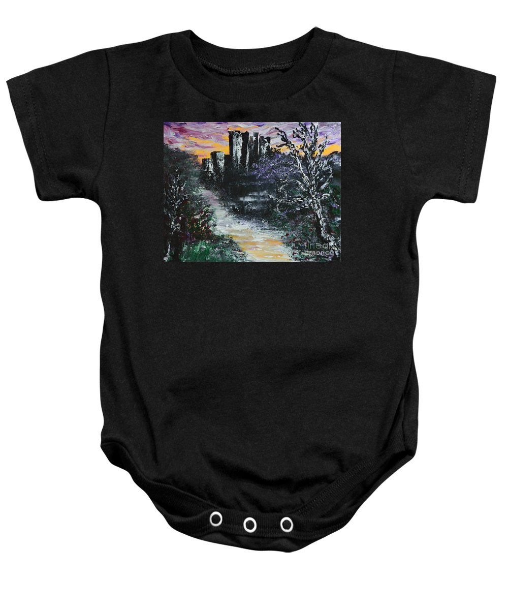 Glenveigh Baby Onesie featuring the painting Castle Ruins At Dawn by Alys Caviness-Gober