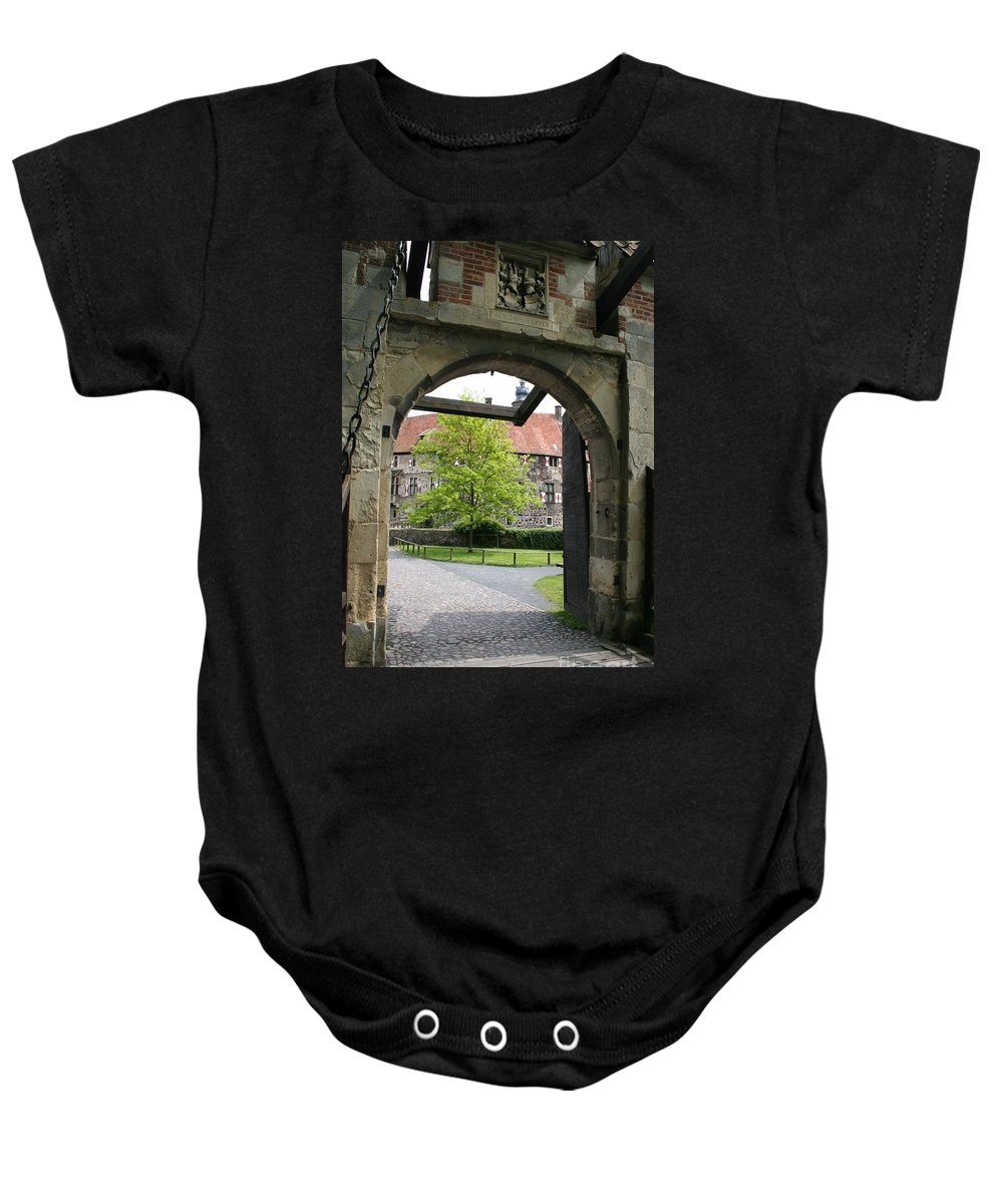 Entrance Baby Onesie featuring the photograph Castle Vischering Archway by Christiane Schulze Art And Photography