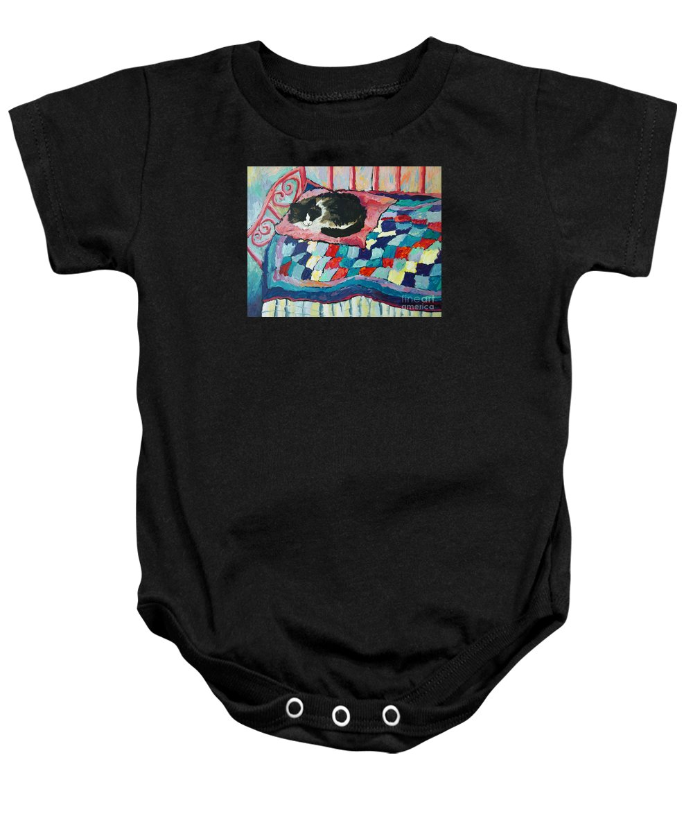 Cat Baby Onesie featuring the painting Cat On Pink by Peggy Johnson