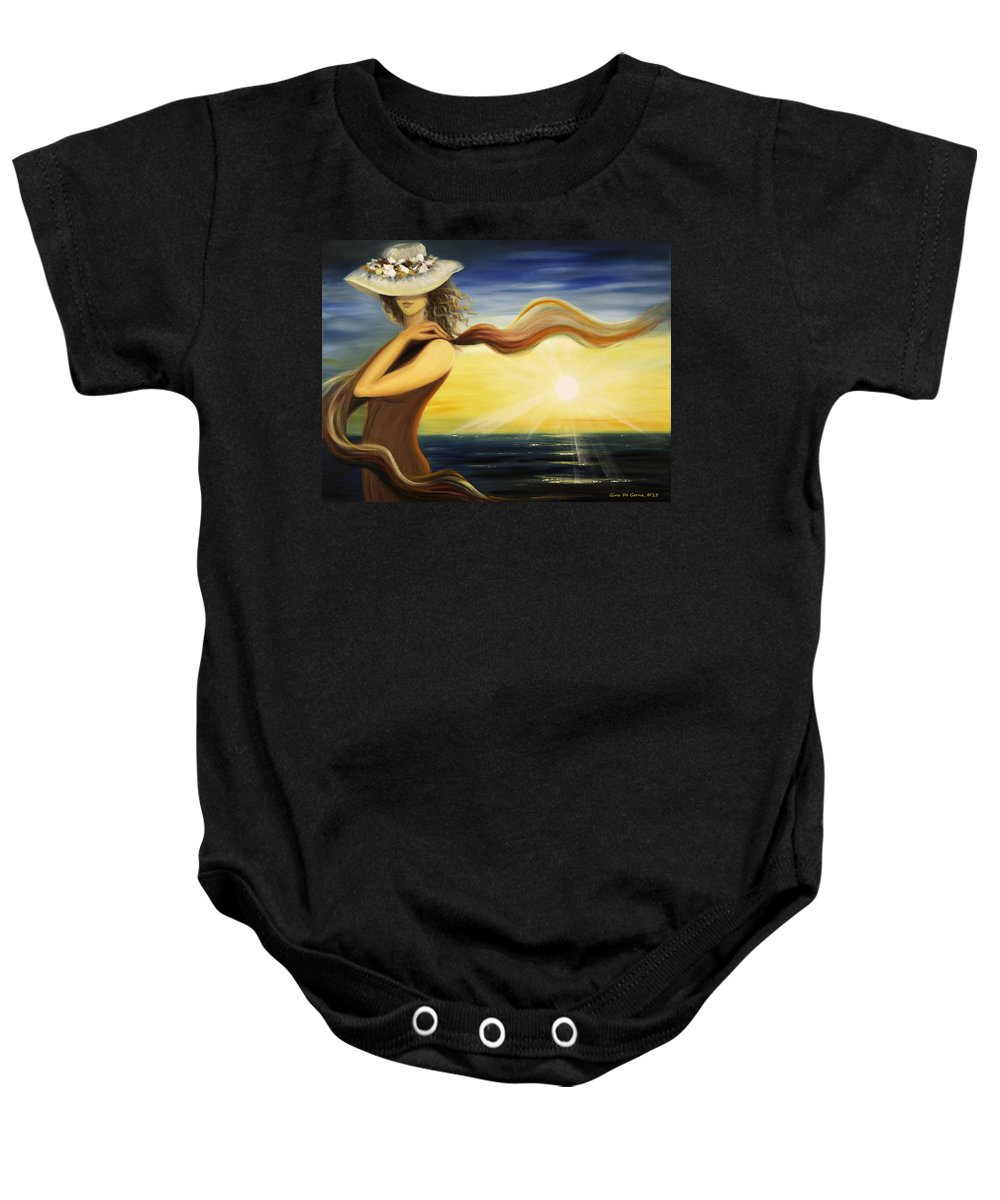 Sunset Baby Onesie featuring the painting Catch by Gina De Gorna