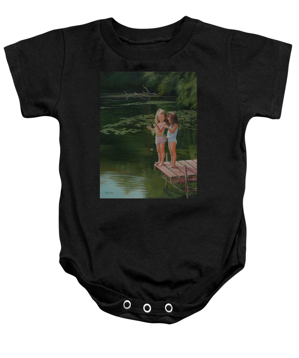 Realistic Baby Onesie featuring the painting Catch Of The Day by Holly Kallie