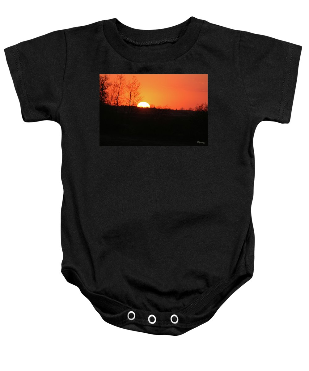 Sunset Land Trees Forest Northern Saskatchewan Land Of The Living Skies Nature Sky Orange Glow Baby Onesie featuring the photograph Catching The Sunset by Andrea Lawrence