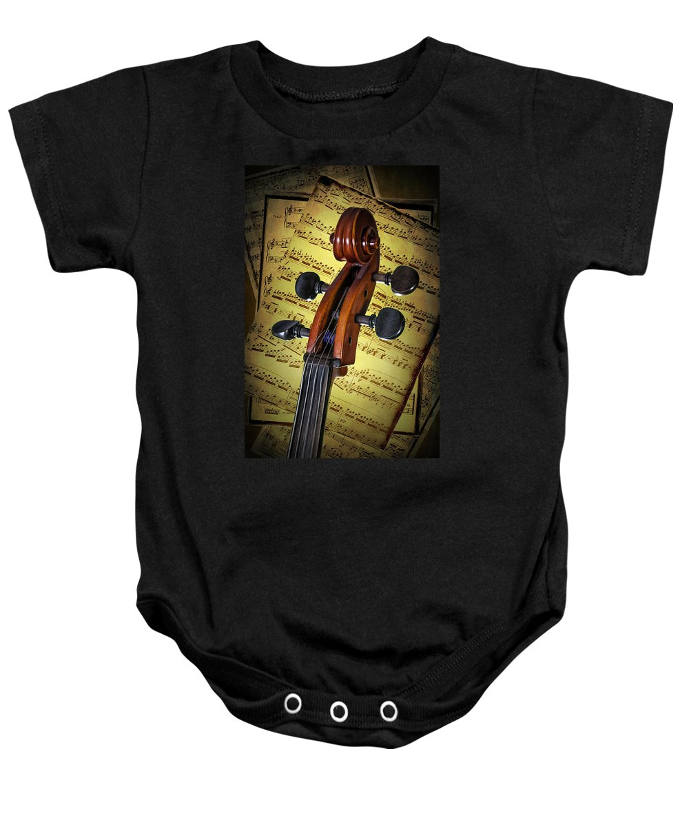 Cello Baby Onesie featuring the photograph Cello Scroll With Sheet Music by Randall Nyhof