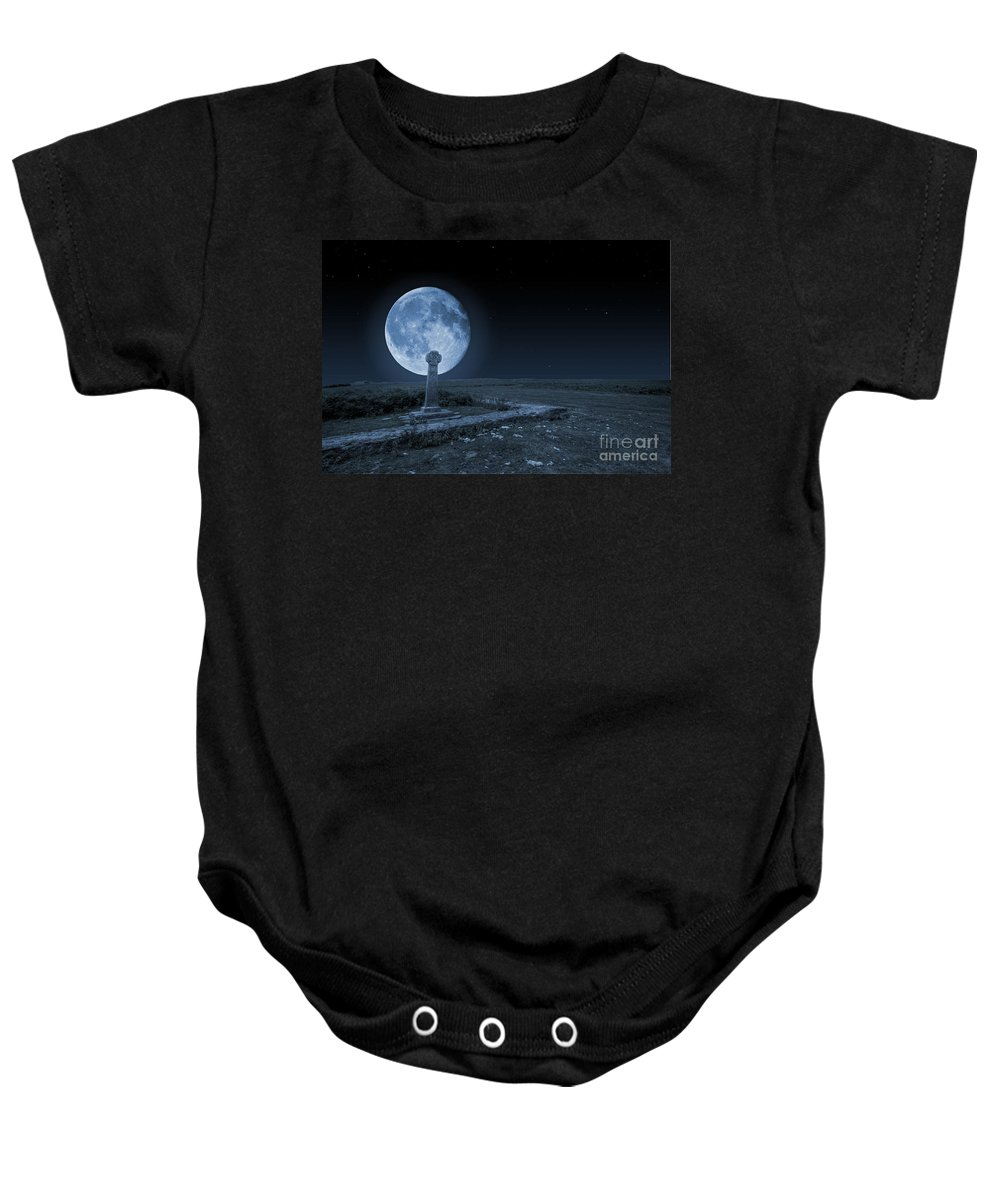 Celtic Cross Baby Onesie featuring the photograph Celtic Cross And Moon by Steve Purnell