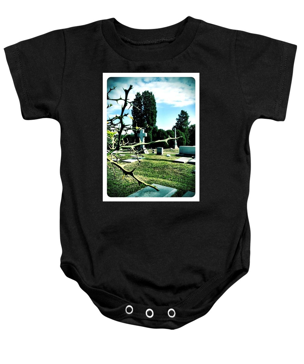 Lemon Tree Baby Onesie featuring the photograph Cematary With Lemon Tree by Michele Monk