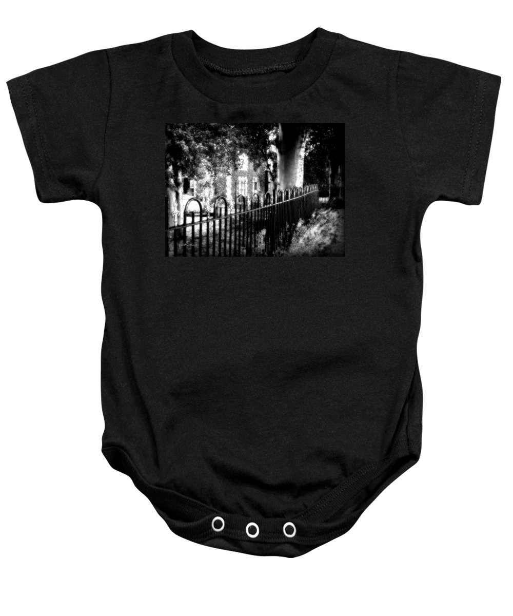 Rightfromtheart Baby Onesie featuring the photograph Cemetery Fence by Bob and Kathy Frank