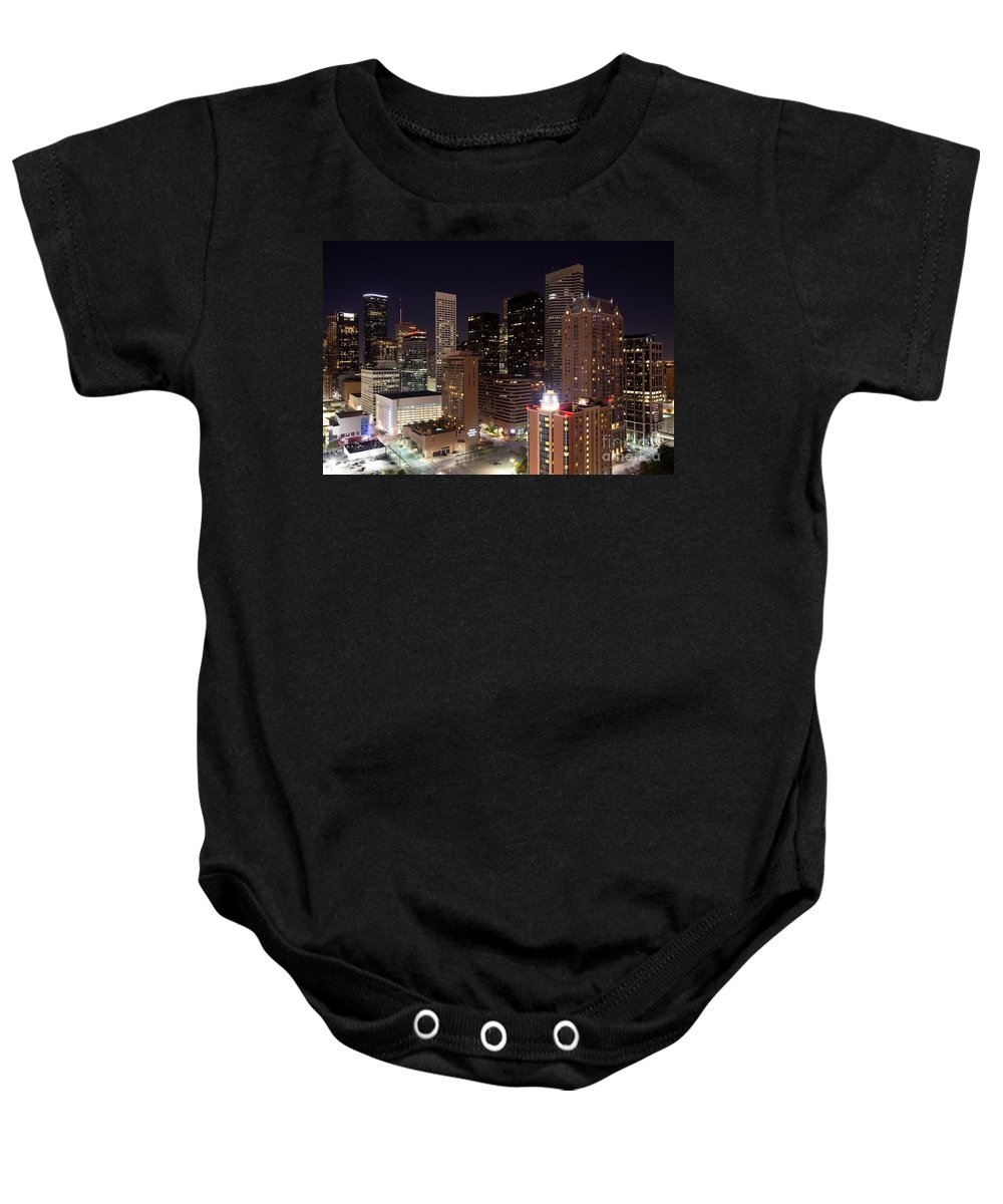 Houston Baby Onesie featuring the photograph Central Houston At Night by Bill Cobb