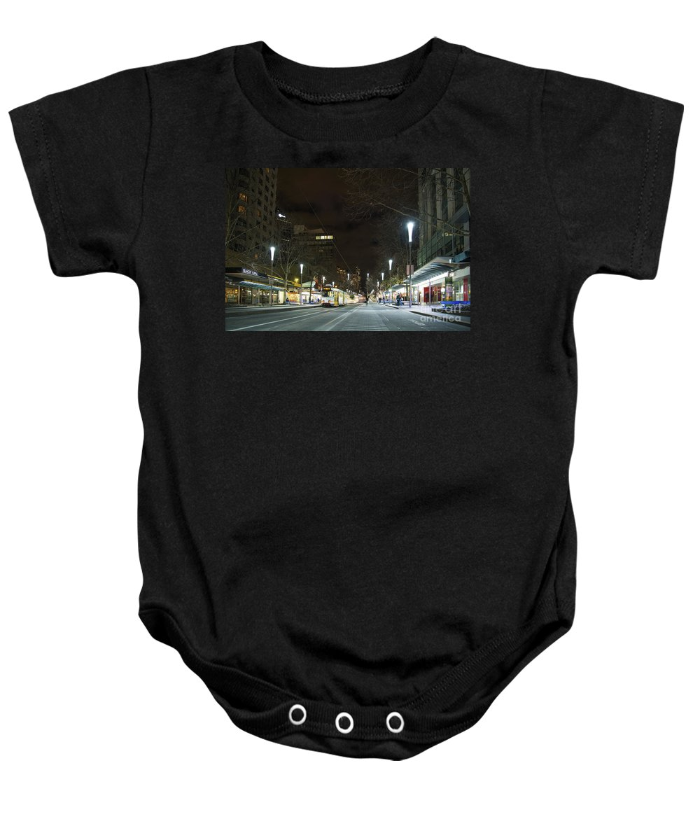 Architecture Baby Onesie featuring the photograph Central Melbourne Street At Night In Australia by Jacek Malipan