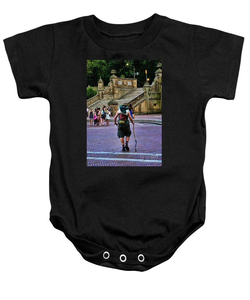 Hiker Baby Onesie featuring the photograph Central Park Hiker by Paul Ward