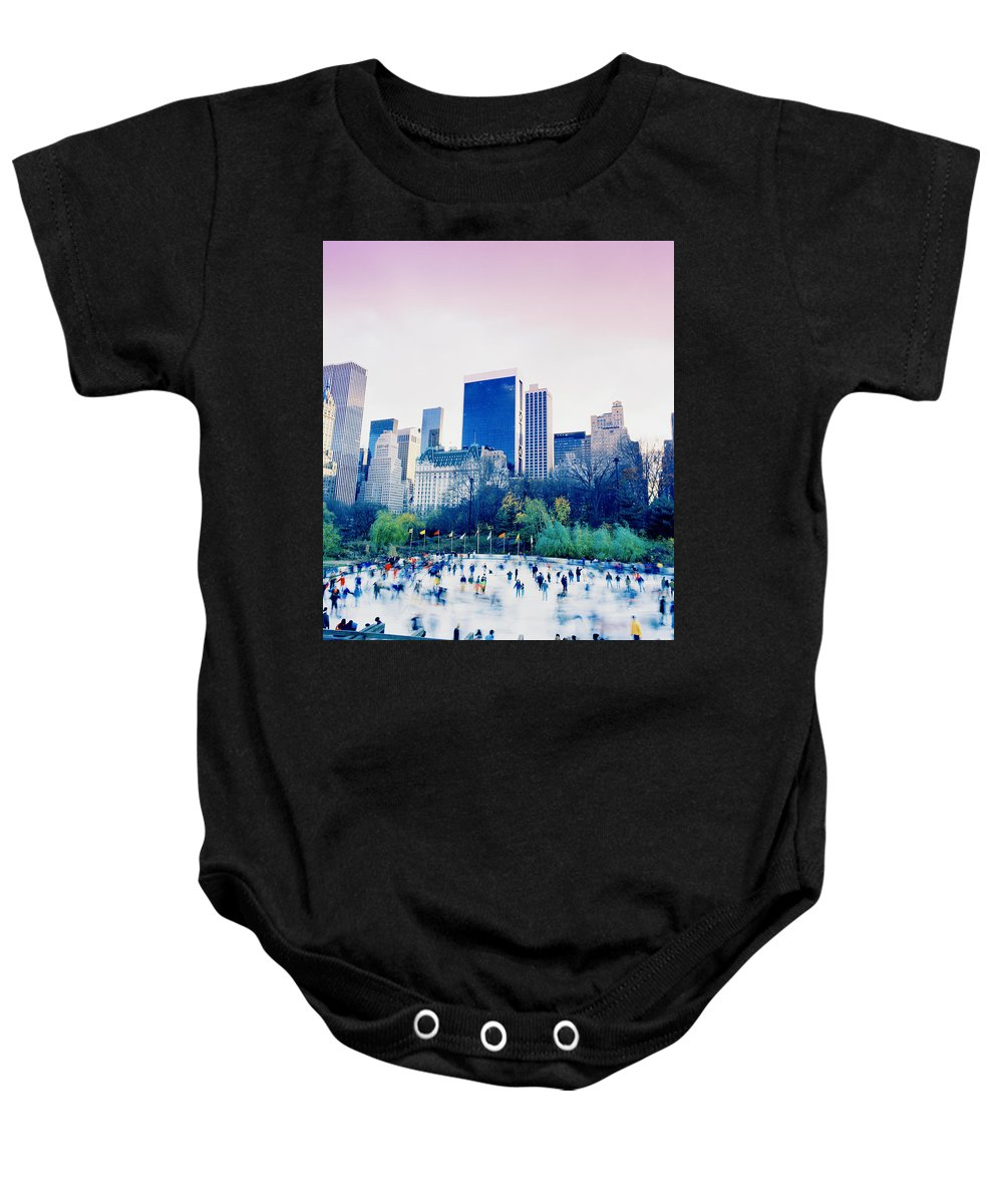 New York Baby Onesie featuring the photograph New York In Motion by Shaun Higson
