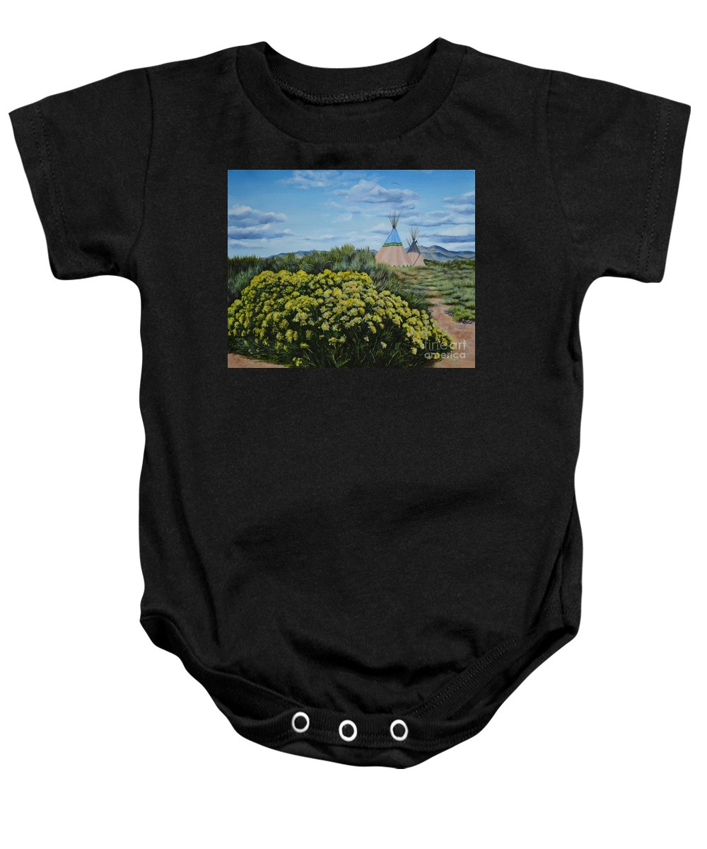 Flowers Baby Onesie featuring the painting Chamisa Season by Mary Rogers