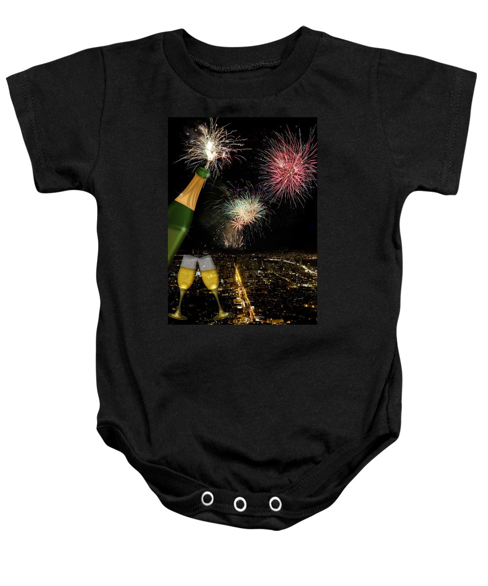 Champagne Baby Onesie featuring the photograph Champagne Toast With San Francisco Skyline At Night by Jit Lim