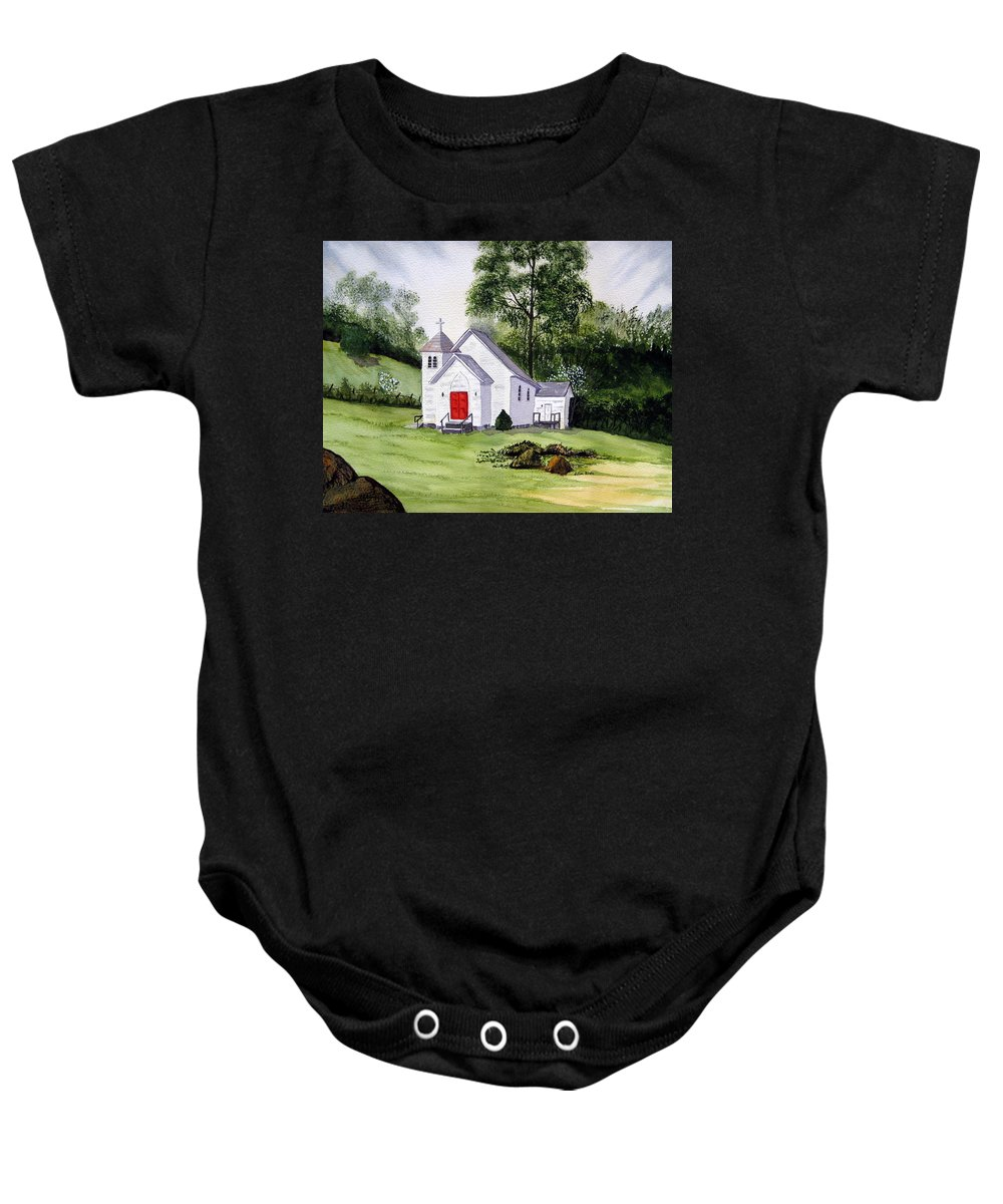 Church Baby Onesie featuring the painting Chapel In The Mounts by Julia RIETZ